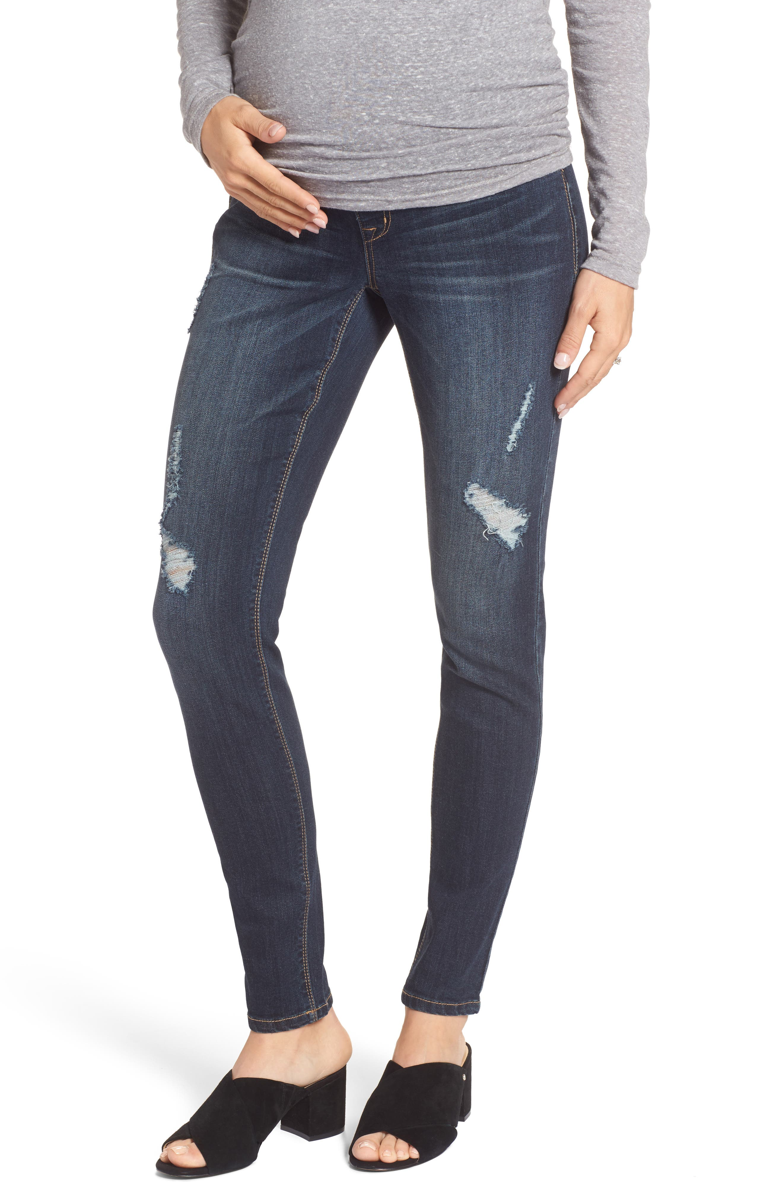 Destructed Maternity Skinny Jeans,                             Main thumbnail 1, color,                             HAZEL