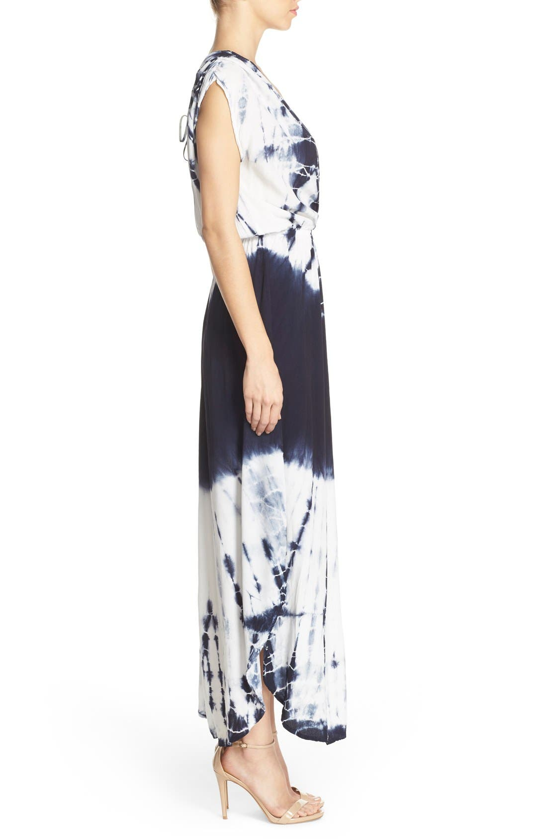 Tie Dye Crepe Maxi Dress,                             Alternate thumbnail 4, color,                             INDIGO