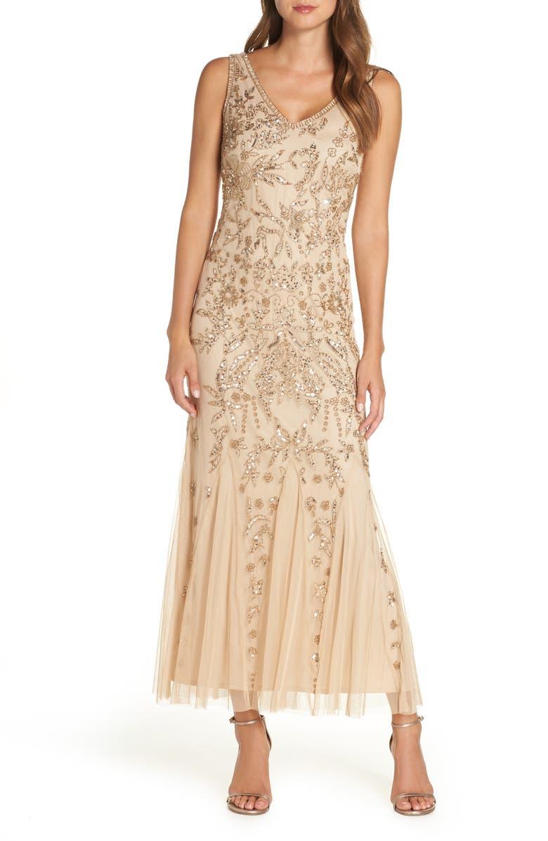 500 Vintage Style Dresses for Sale Pisarro Nights Embellished Mesh Gown Size 10P - Pink $238.00 AT vintagedancer.com