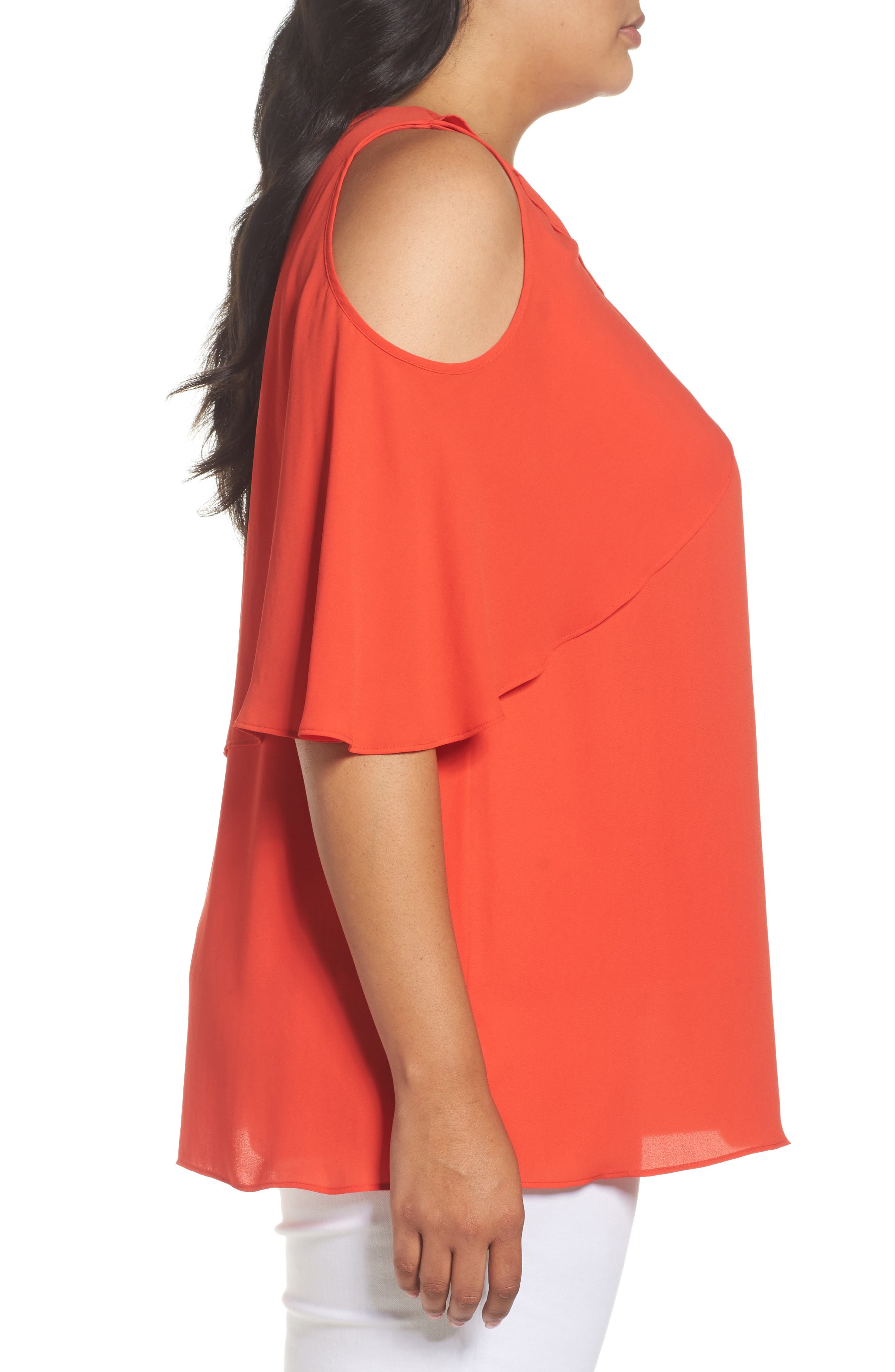 Cold Shoulder Ruffled Blouse,                             Alternate thumbnail 14, color,