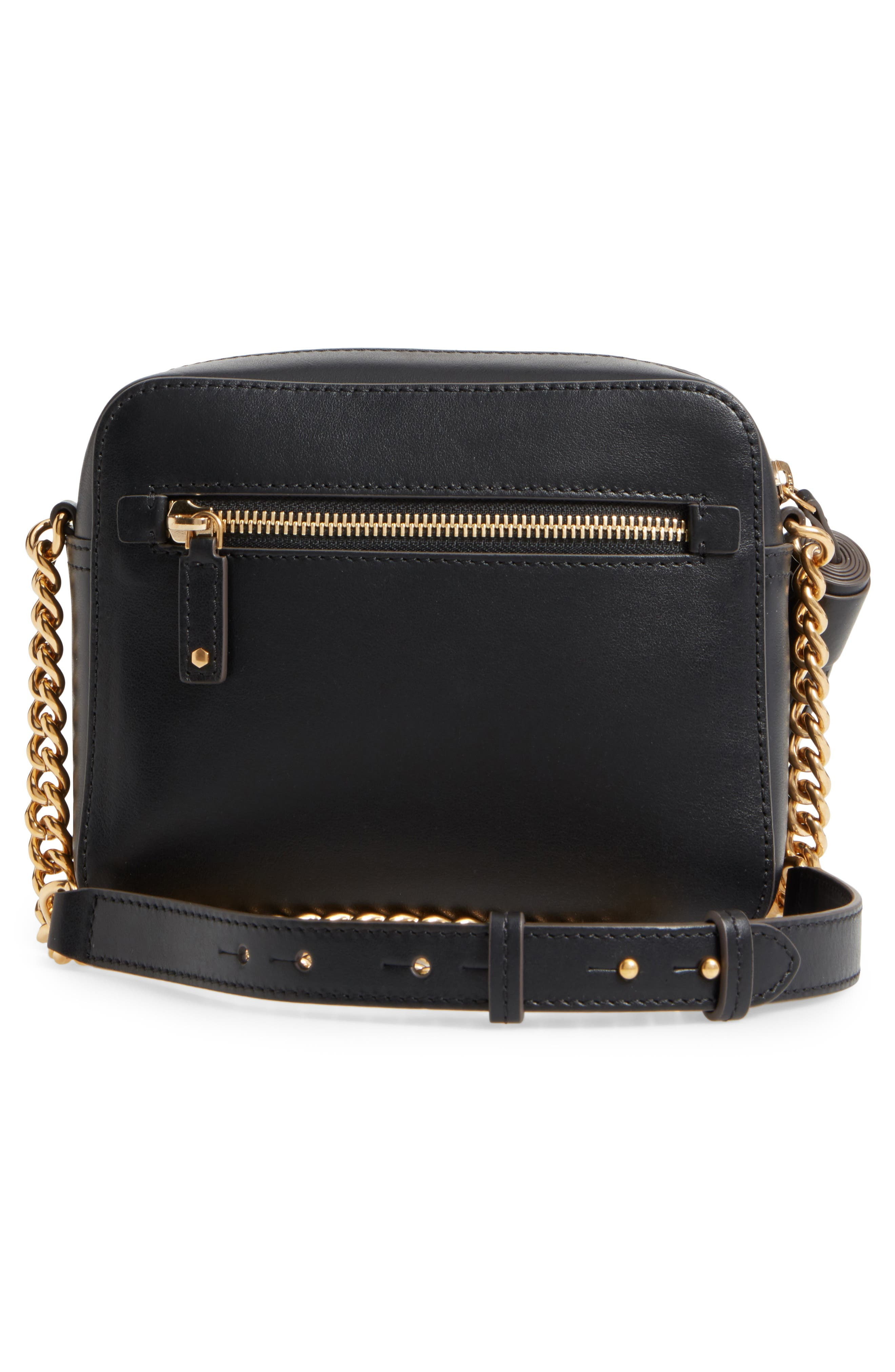 Eyes Camera Leather Crossbody Bag,                             Alternate thumbnail 3, color,                             BLACK