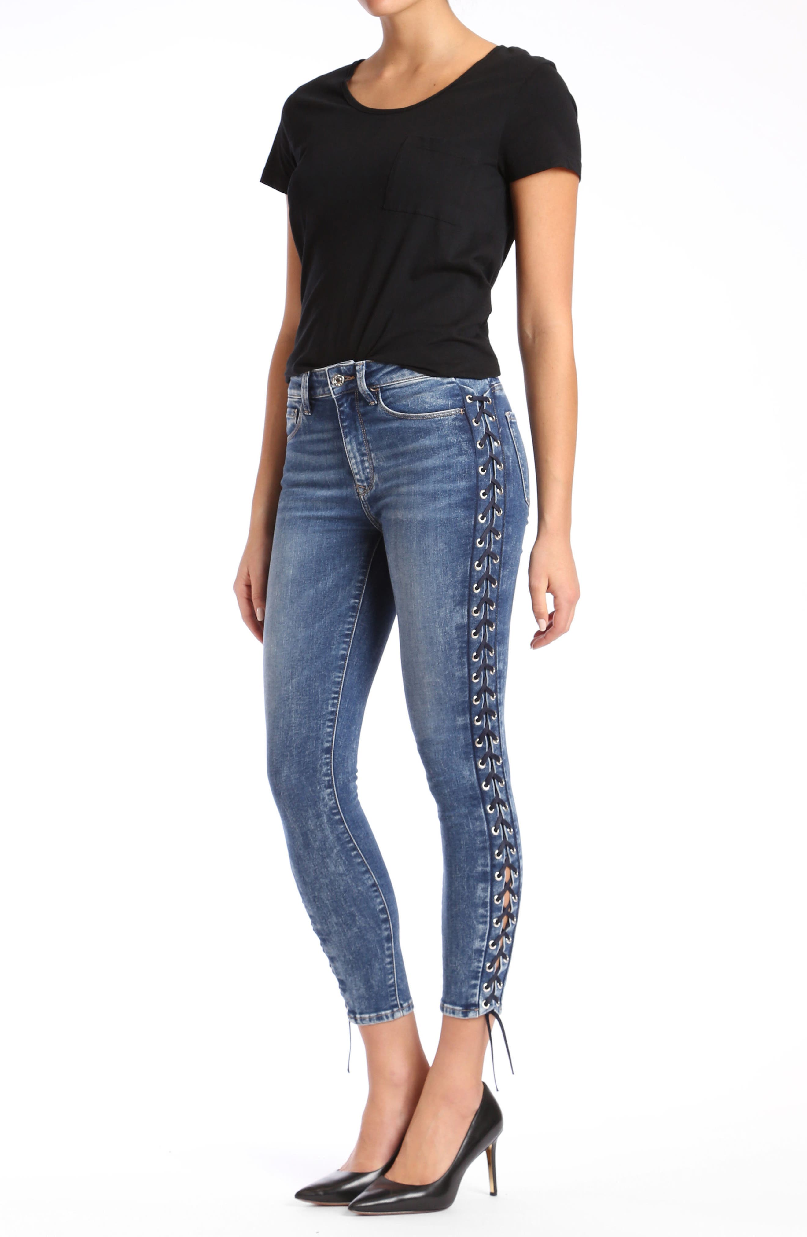 Tess Corset Ankle Skinny Jeans,                             Alternate thumbnail 4, color,                             420