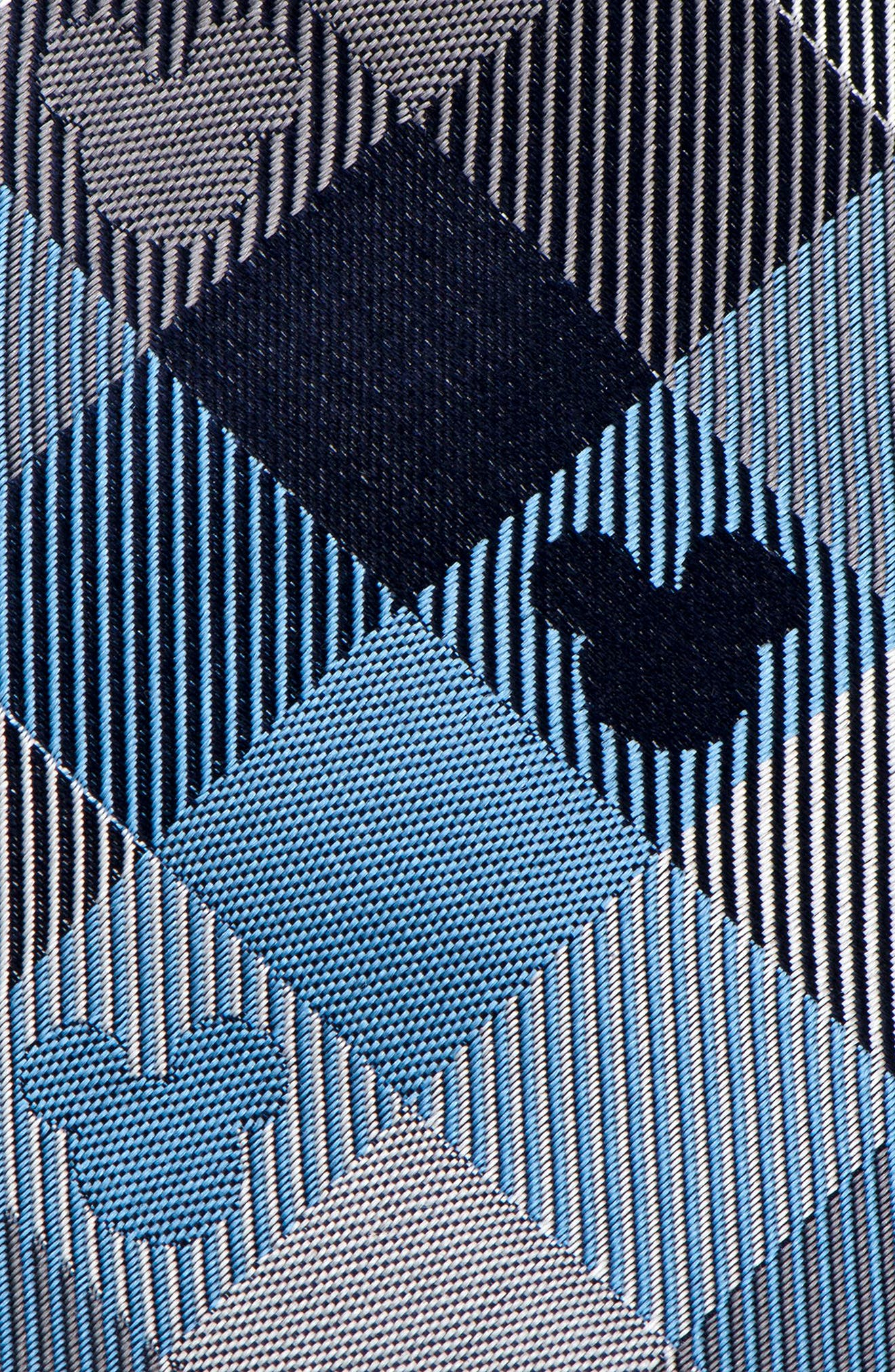 Mickey Mouse Plaid Silk Tie,                             Alternate thumbnail 3, color,                             BLUE/ GREY