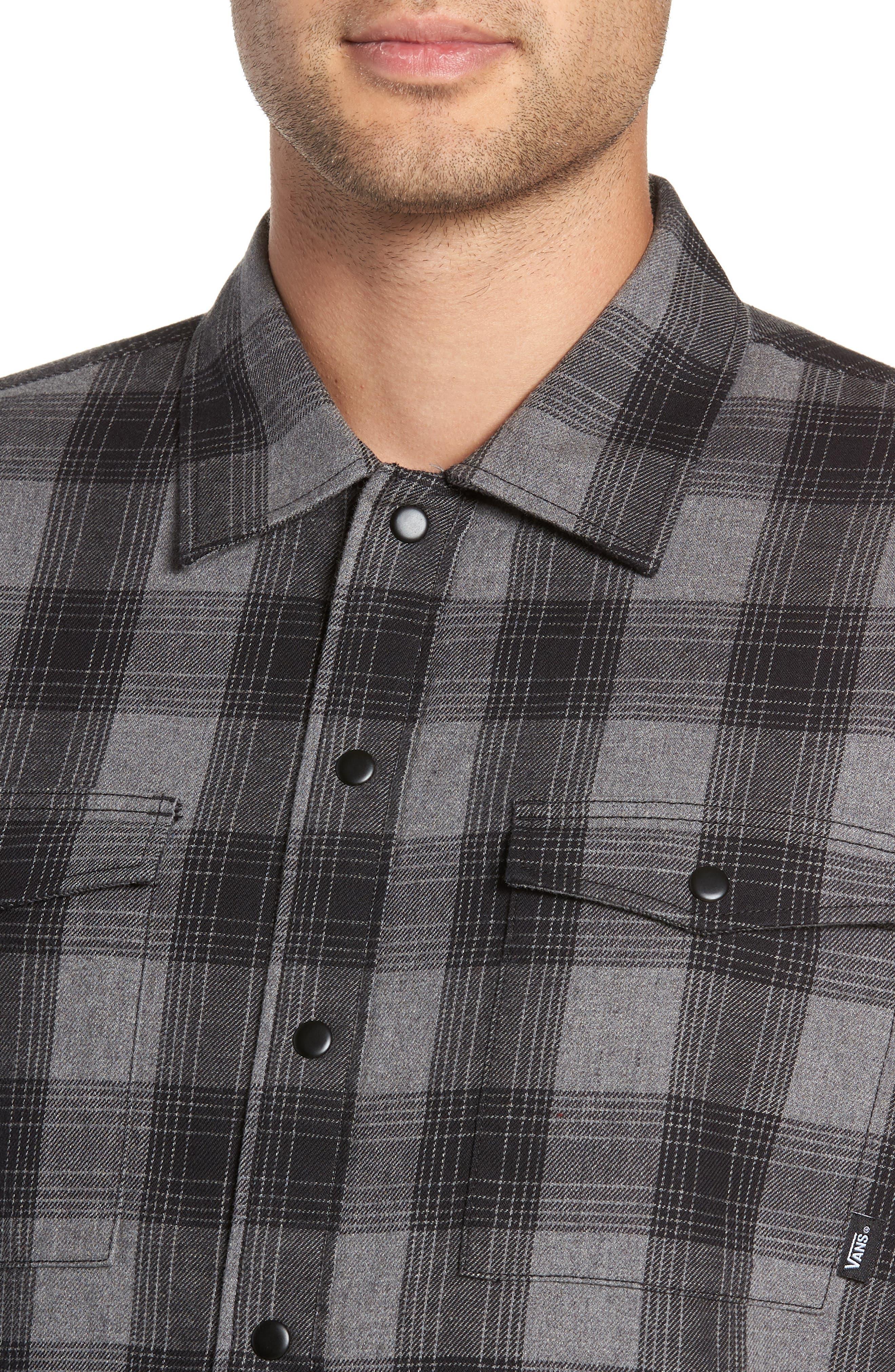 VANS,                             Parnell Plaid Shirt Jacket,                             Alternate thumbnail 4, color,                             GRAVEL HEATHER