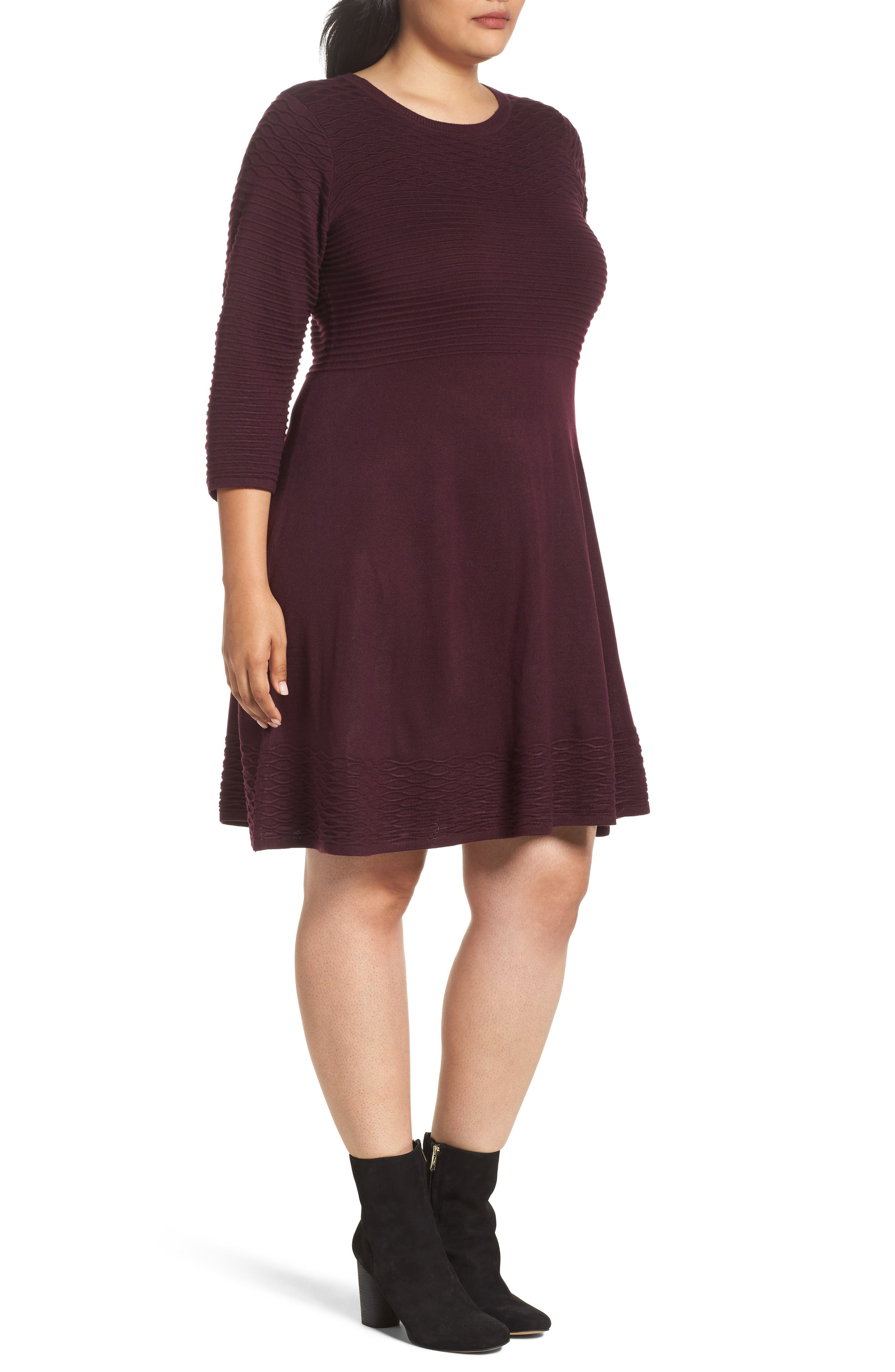 Knit Fit & Flare Dress,                             Alternate thumbnail 3, color,