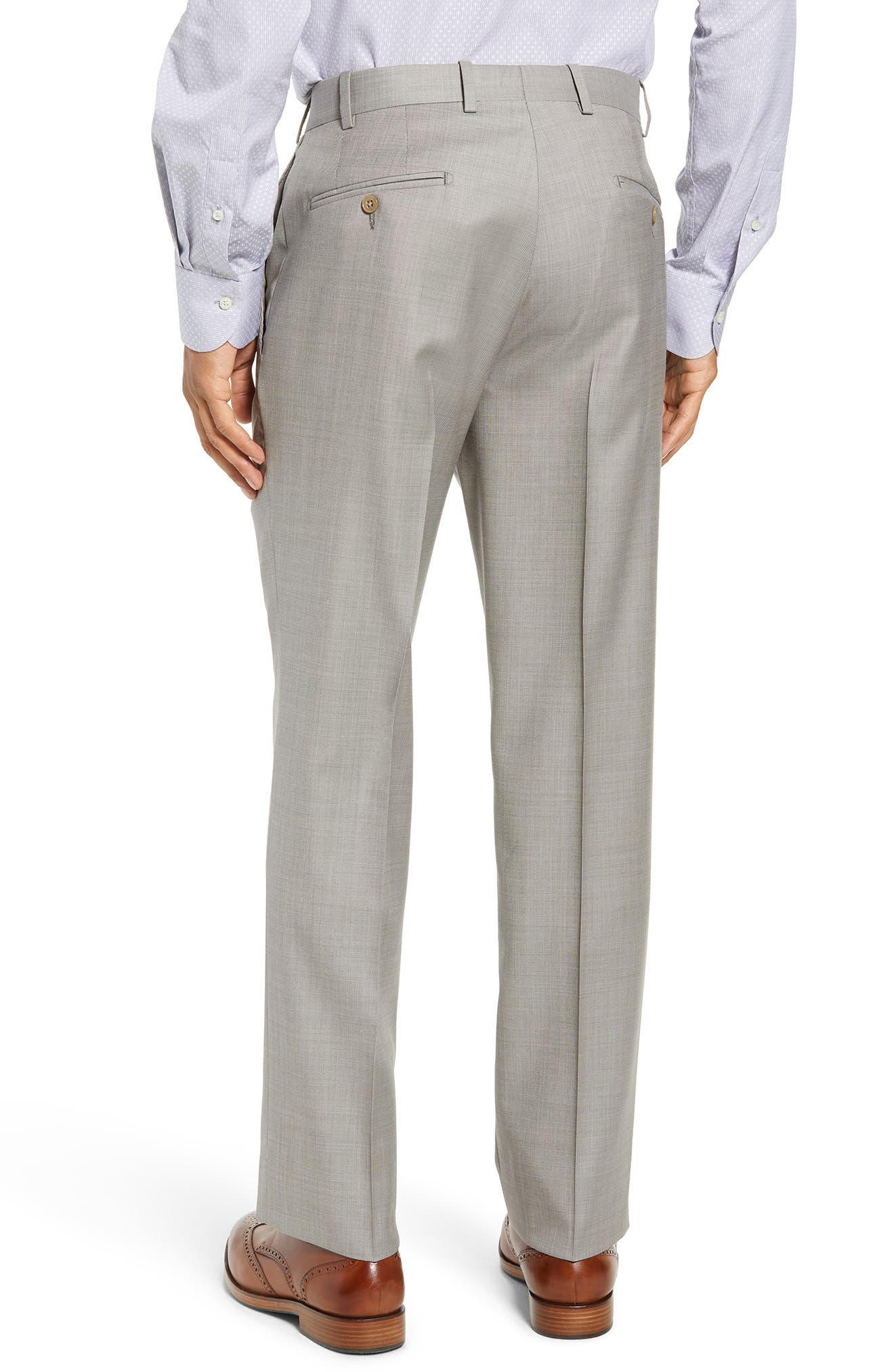 Torino Flat Front Solid Wool Trousers,                             Alternate thumbnail 6, color,