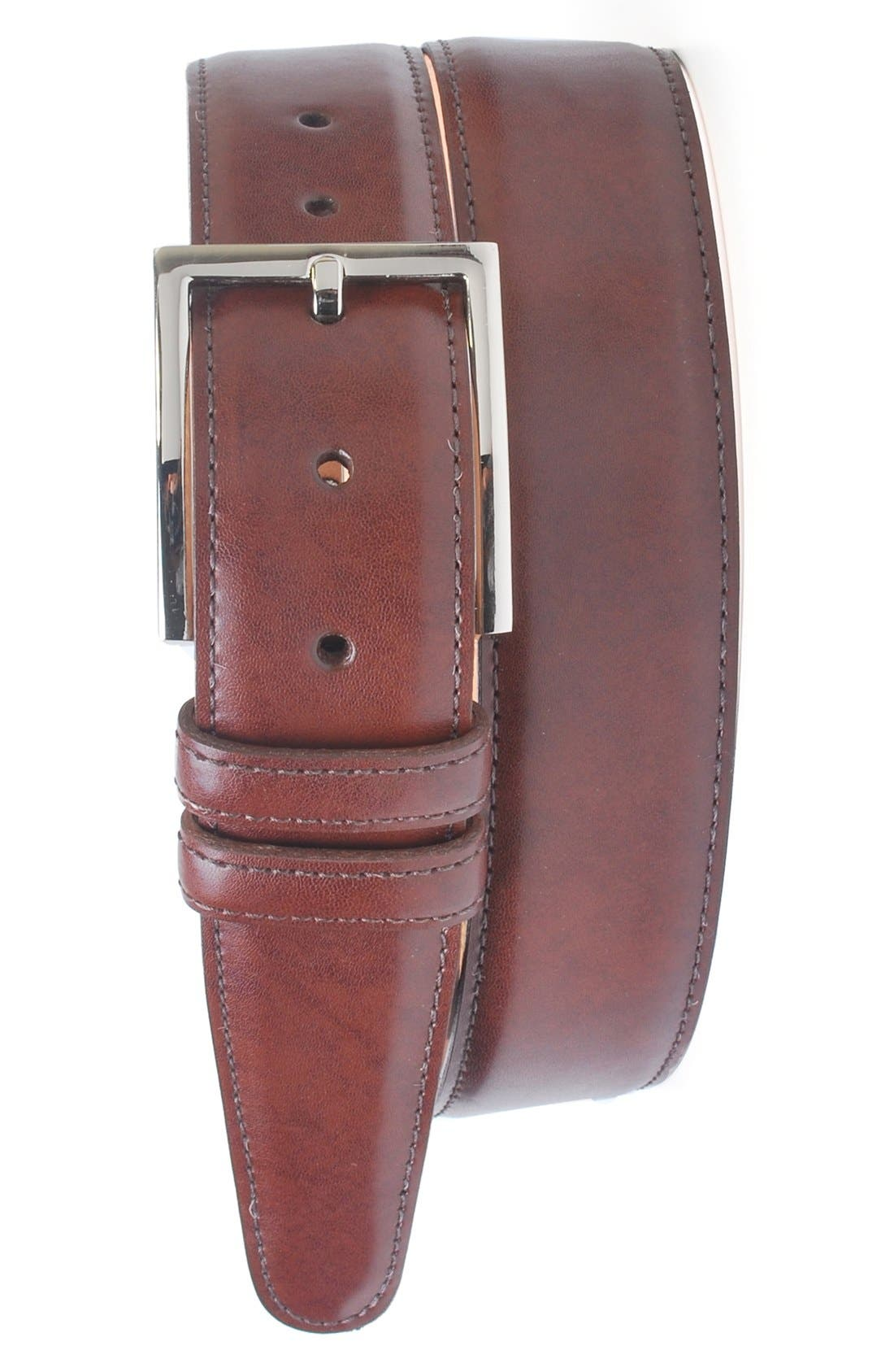 'Samuel' Leather Belt,                             Main thumbnail 1, color,                             LUGGAGE