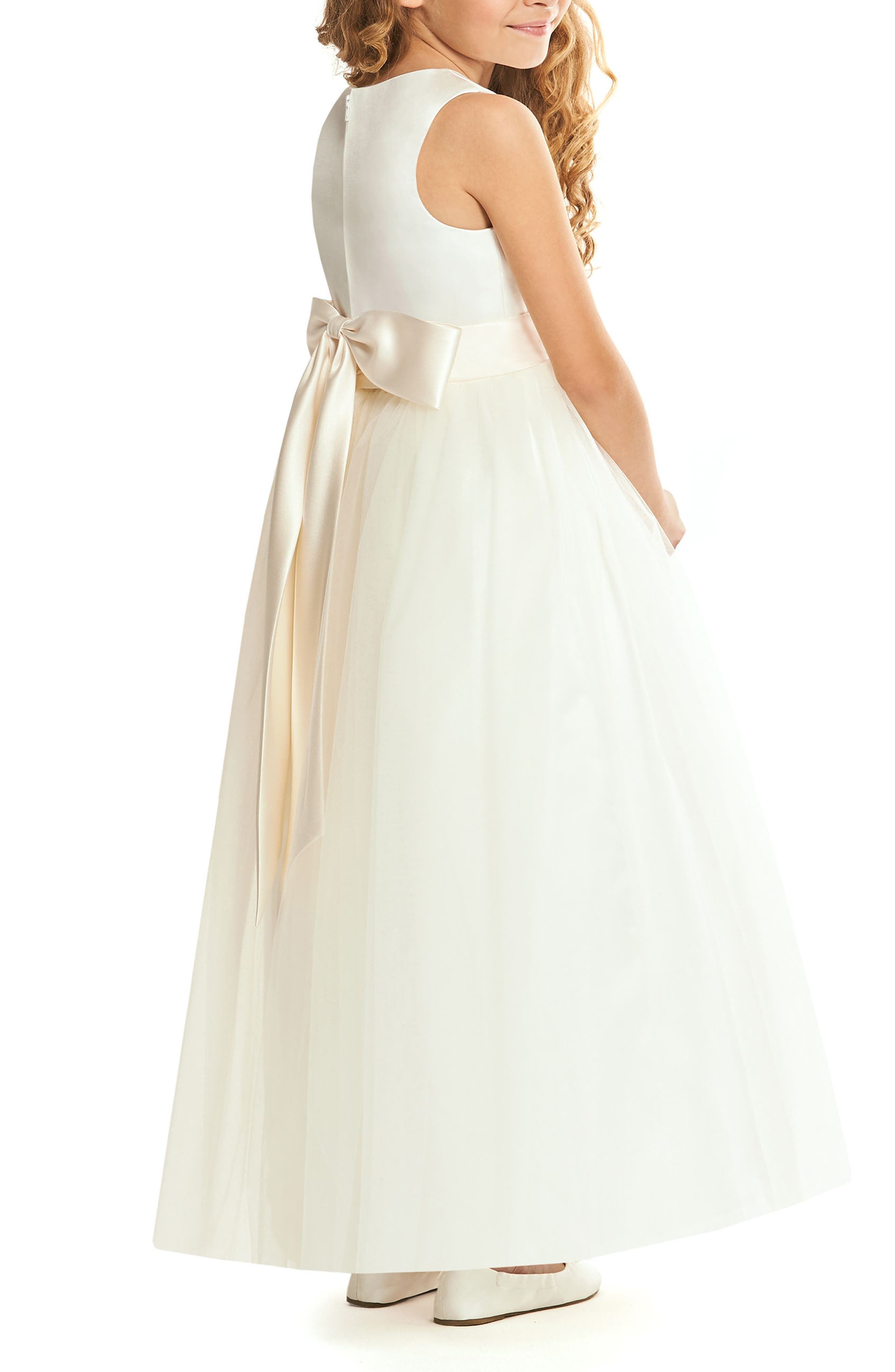 Satin & Tulle Flower Girl Dress,                             Alternate thumbnail 2, color,                             900
