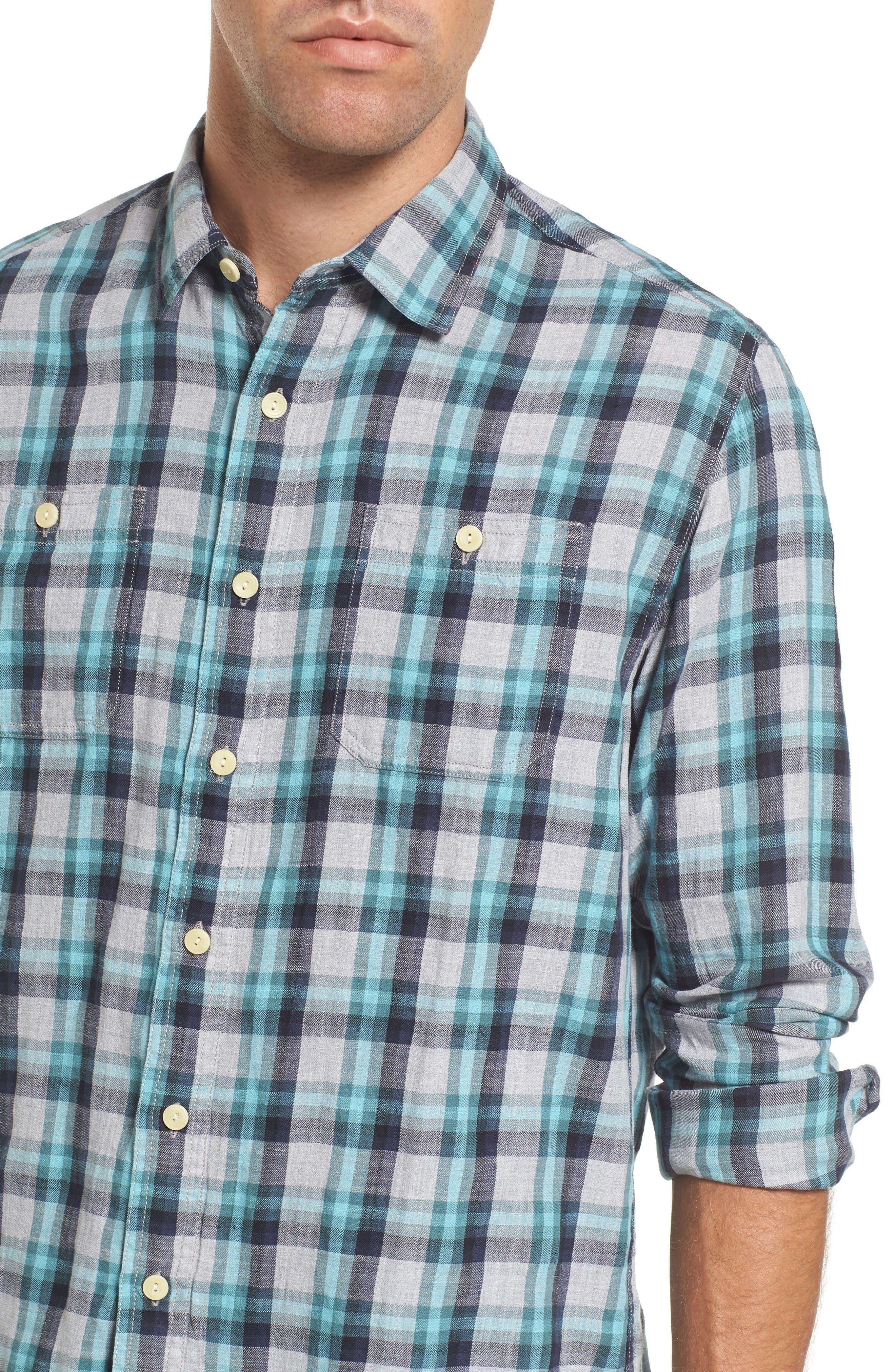 Trevor Modern Fit Slub Twill Sport Shirt,                             Alternate thumbnail 4, color,