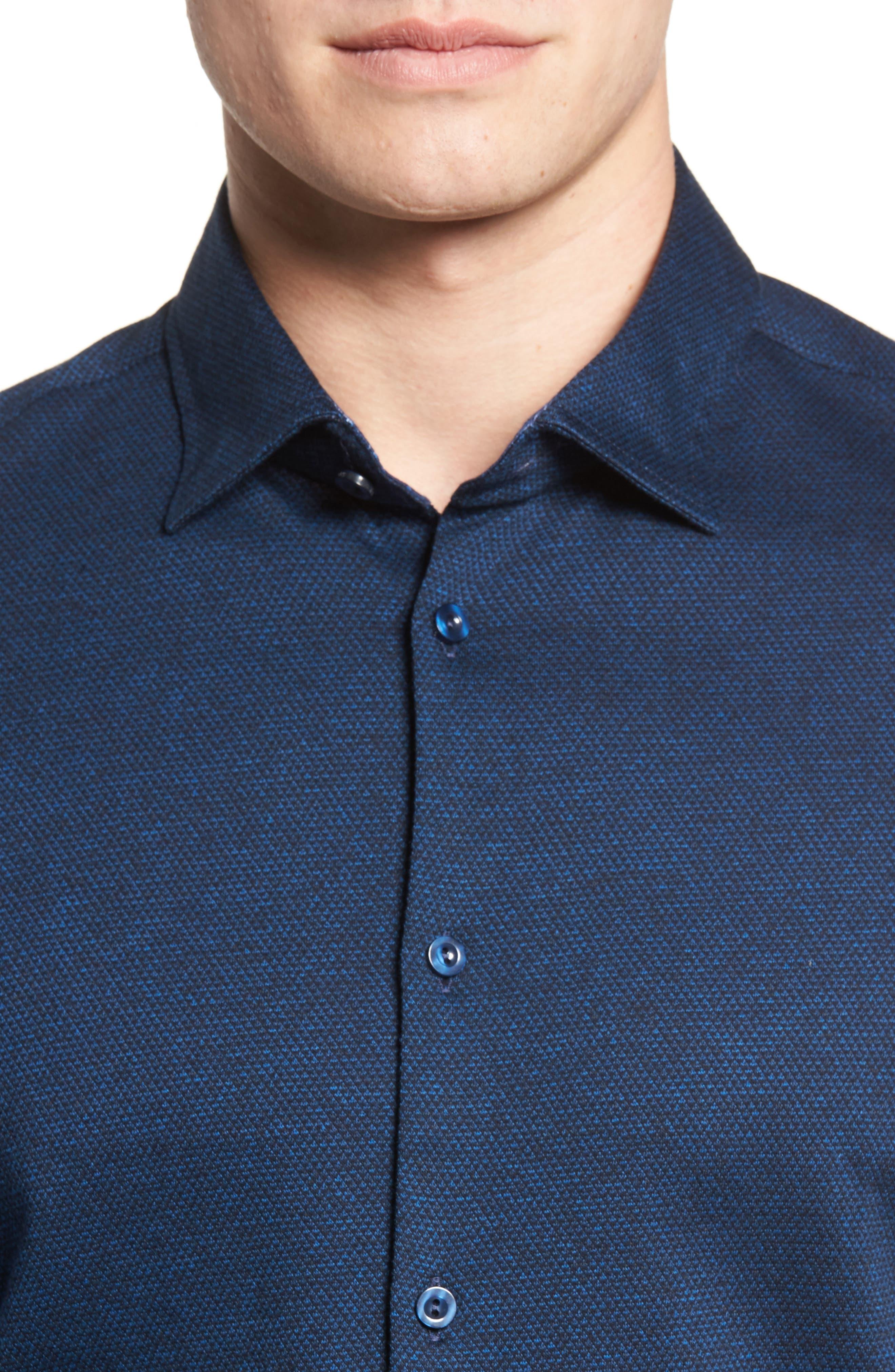 Slim Fit Diamond Jacquard Knit Sport Shirt,                             Alternate thumbnail 4, color,                             NAVY