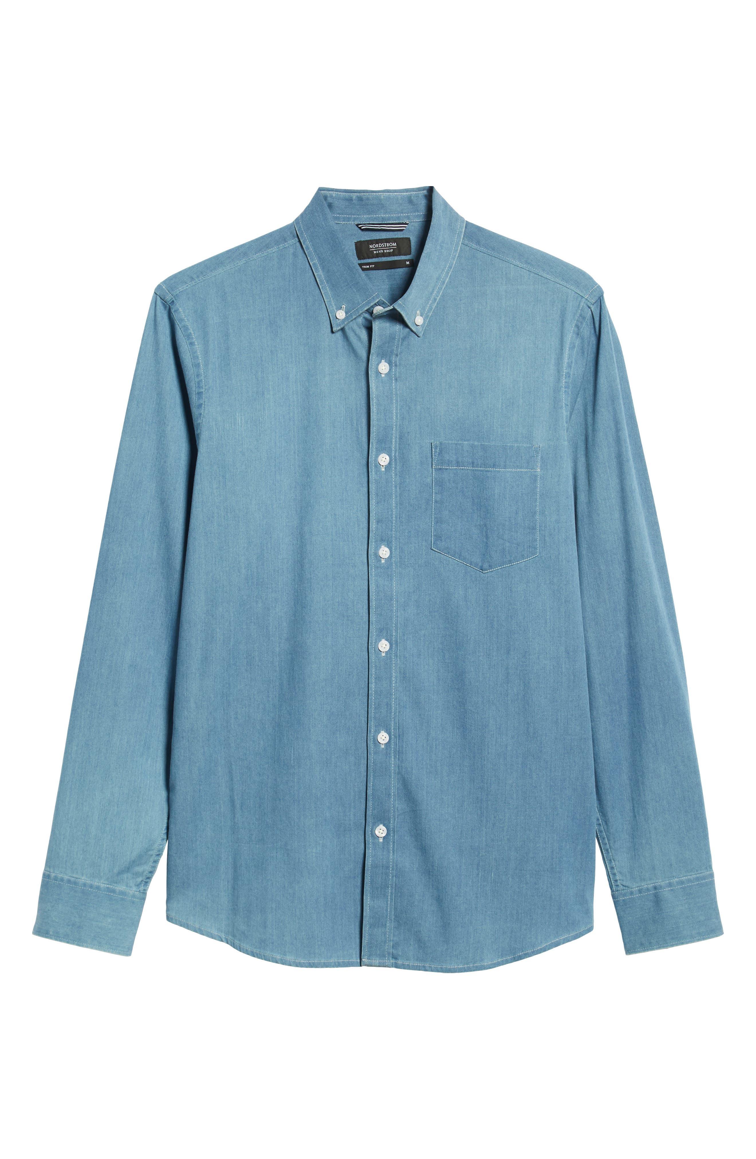Slim Fit Chambray Sport Shirt,                             Alternate thumbnail 5, color,                             BLUE HEAVEN CHAMBRAY