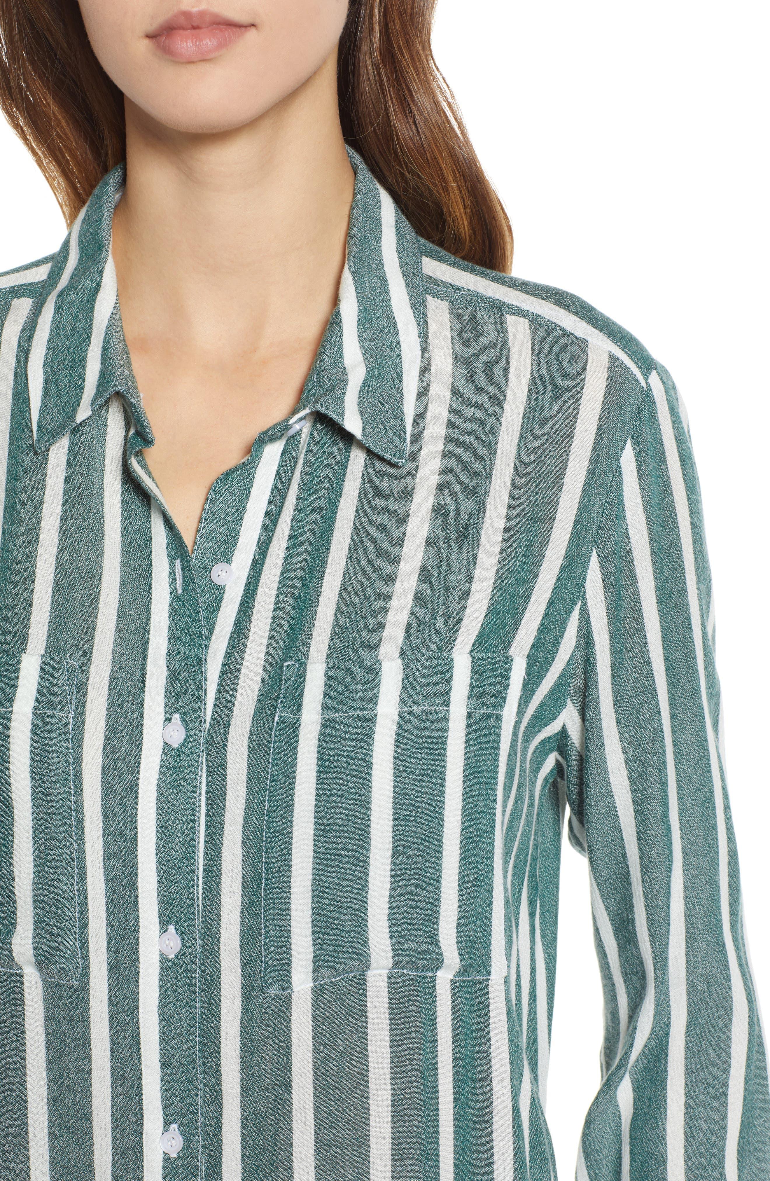 The Perfect Shirt,                             Alternate thumbnail 4, color,                             GREEN BOTANICAL KASEY STRIPE