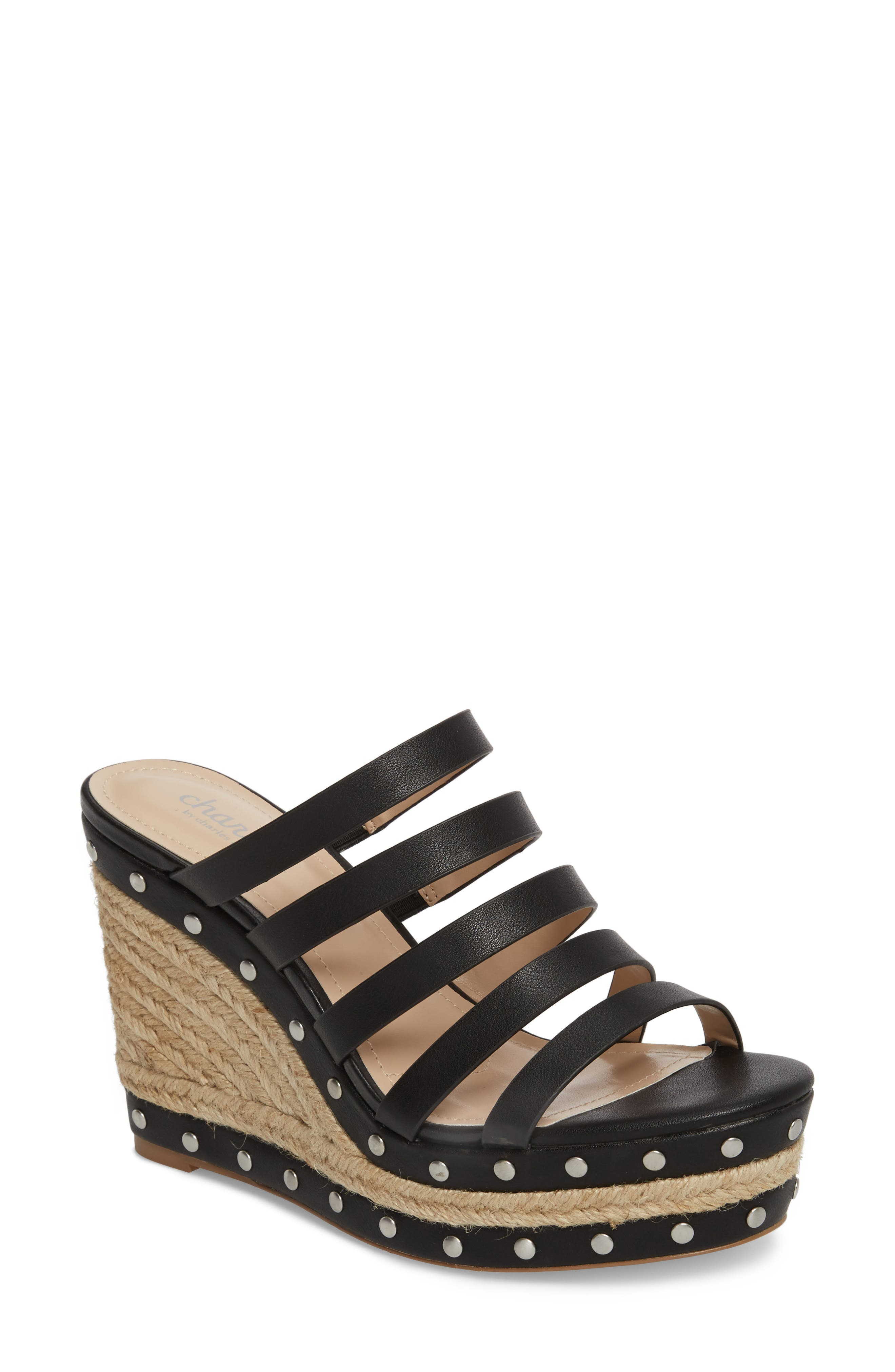 Loyal Wedge Sandal,                         Main,                         color, BLACK LEATHER