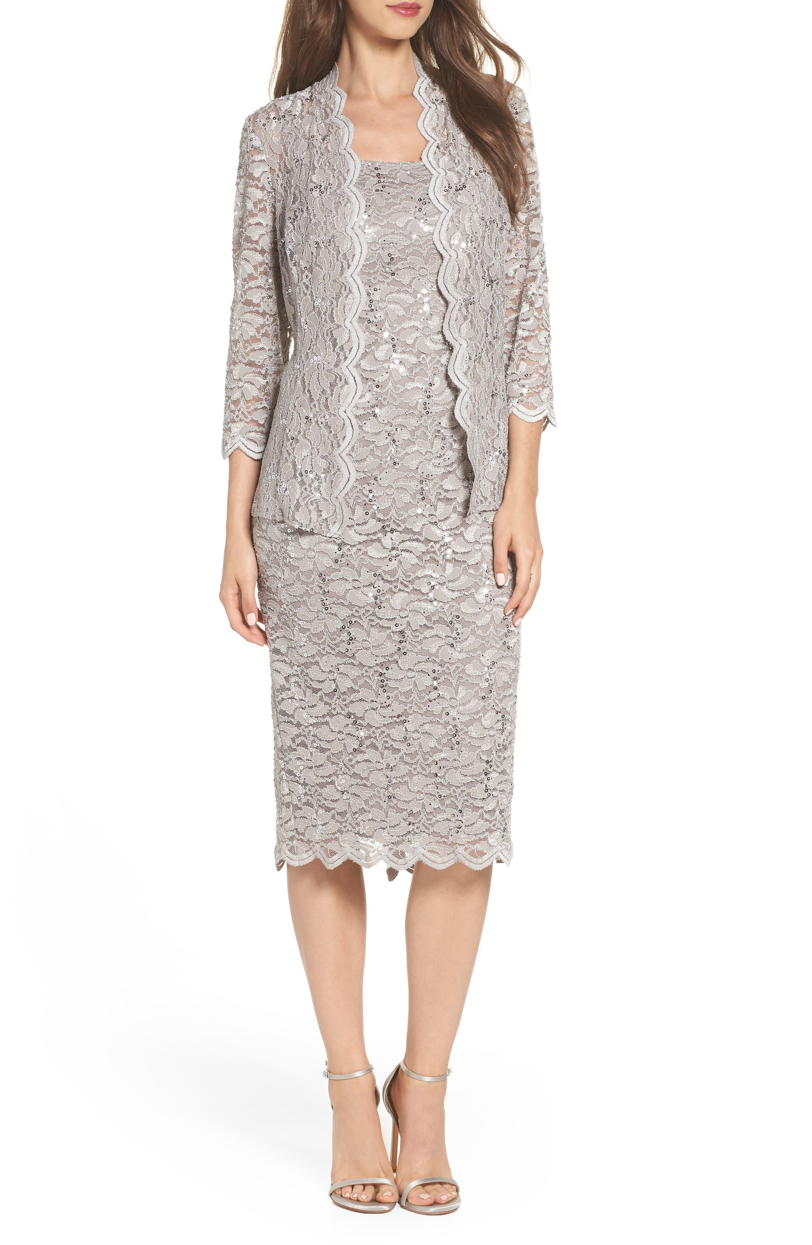 Lace Dress & Jacket,                         Main,                         color, MINK