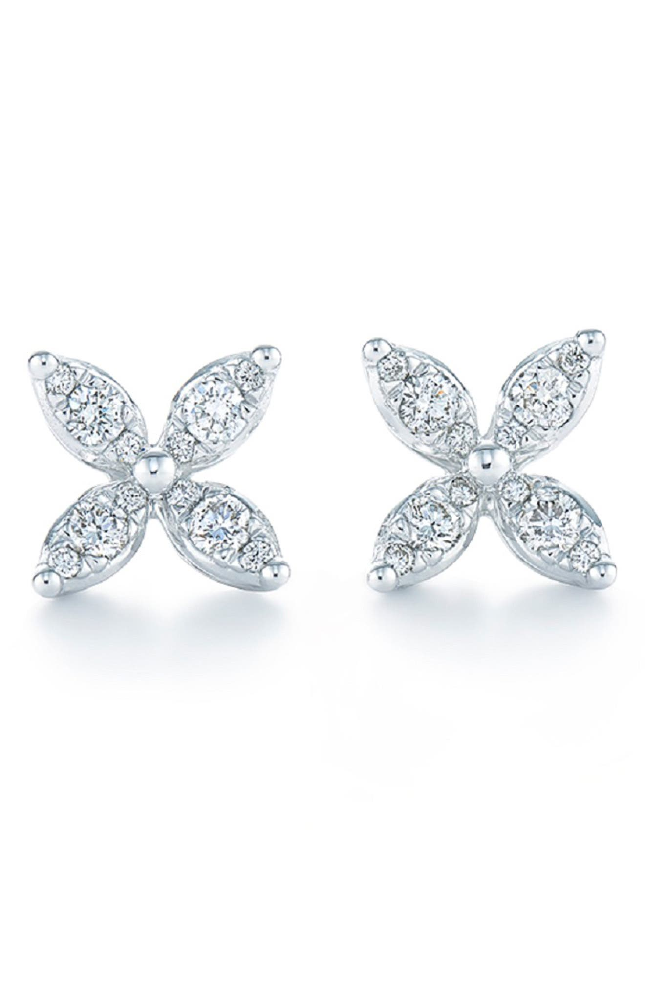 'Sunburst' Diamond Stud Earrings,                             Main thumbnail 1, color,                             WHITE GOLD