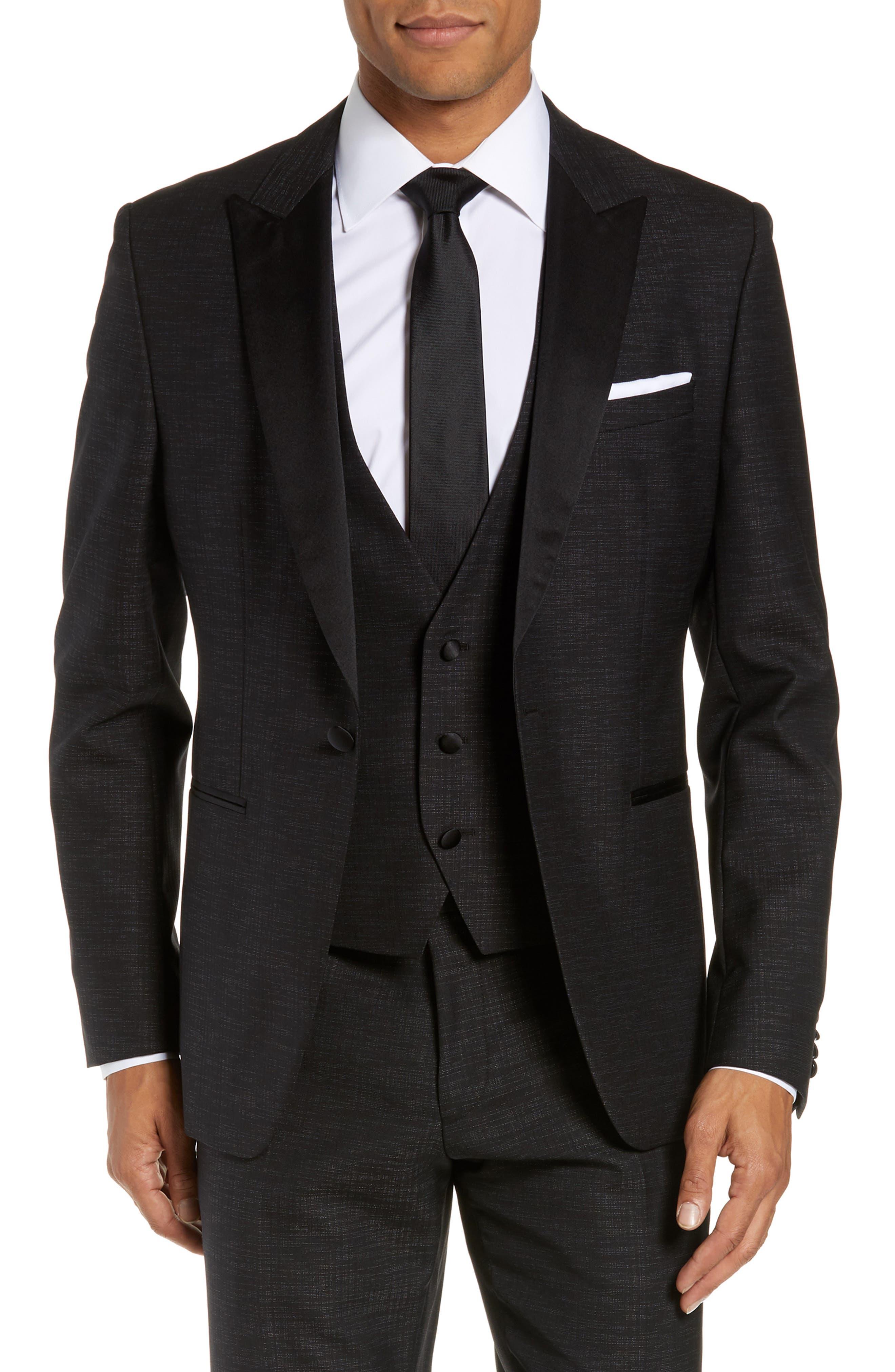 BOSS,                             Rendal/Wilden Slim Fit Three-Piece Tuxedo,                             Alternate thumbnail 5, color,                             BLACK