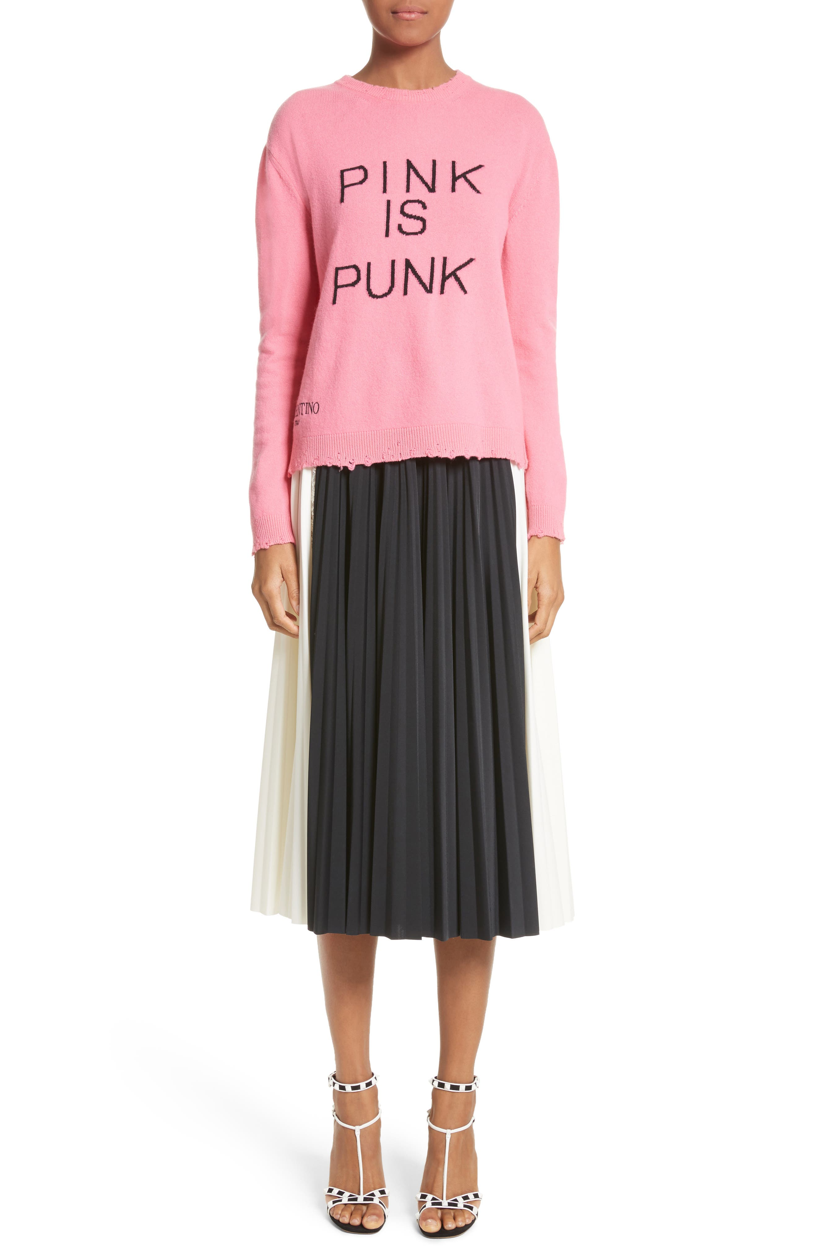 Pink Is Punk Wool & Cashmere Sweater,                             Alternate thumbnail 7, color,                             664