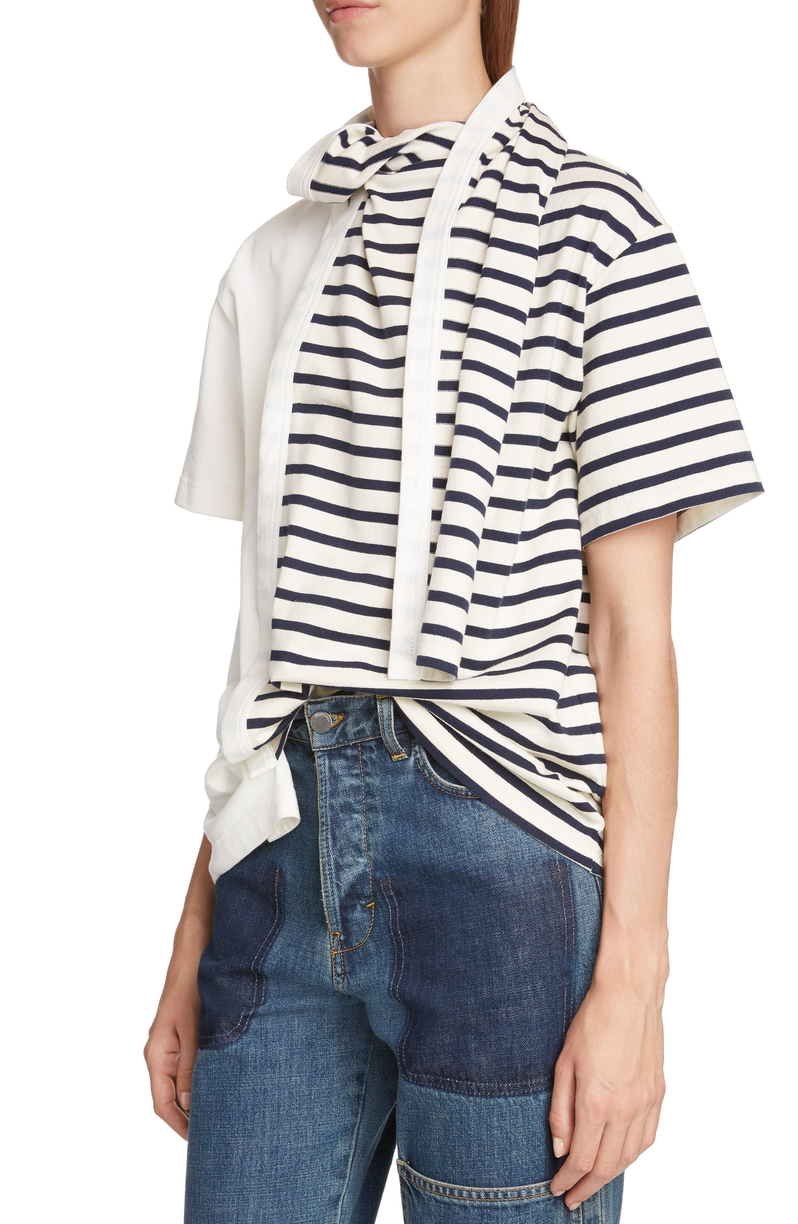 JW ANDERSON,                             Asymmetrical Draped Tee,                             Alternate thumbnail 4, color,                             IVORY