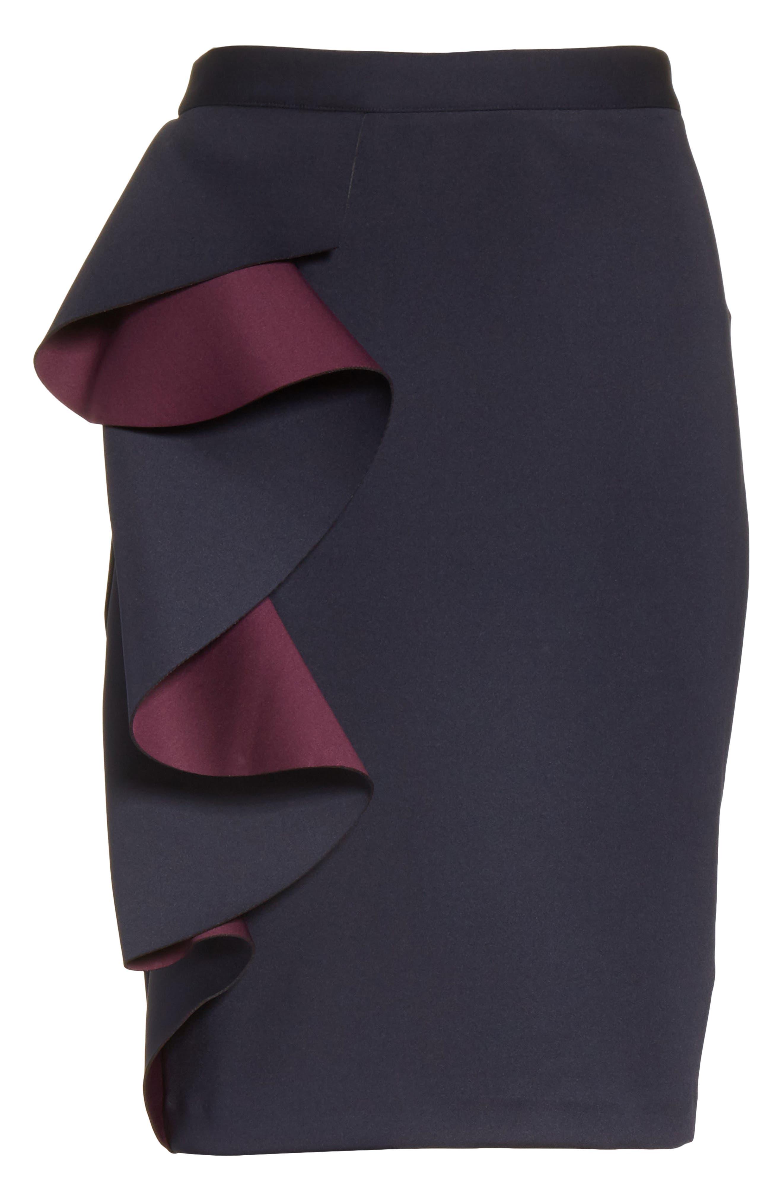 Derosa Oversize Ruffle Pencil Skirt,                             Alternate thumbnail 6, color,                             402