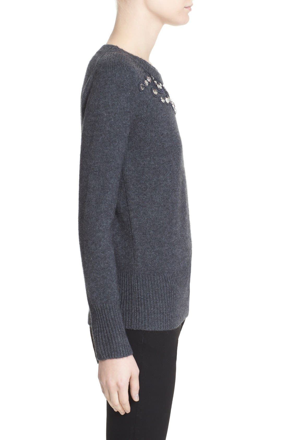 BURBERRY LONDON,                             Embellished Crewneck Sweater,                             Alternate thumbnail 4, color,                             026