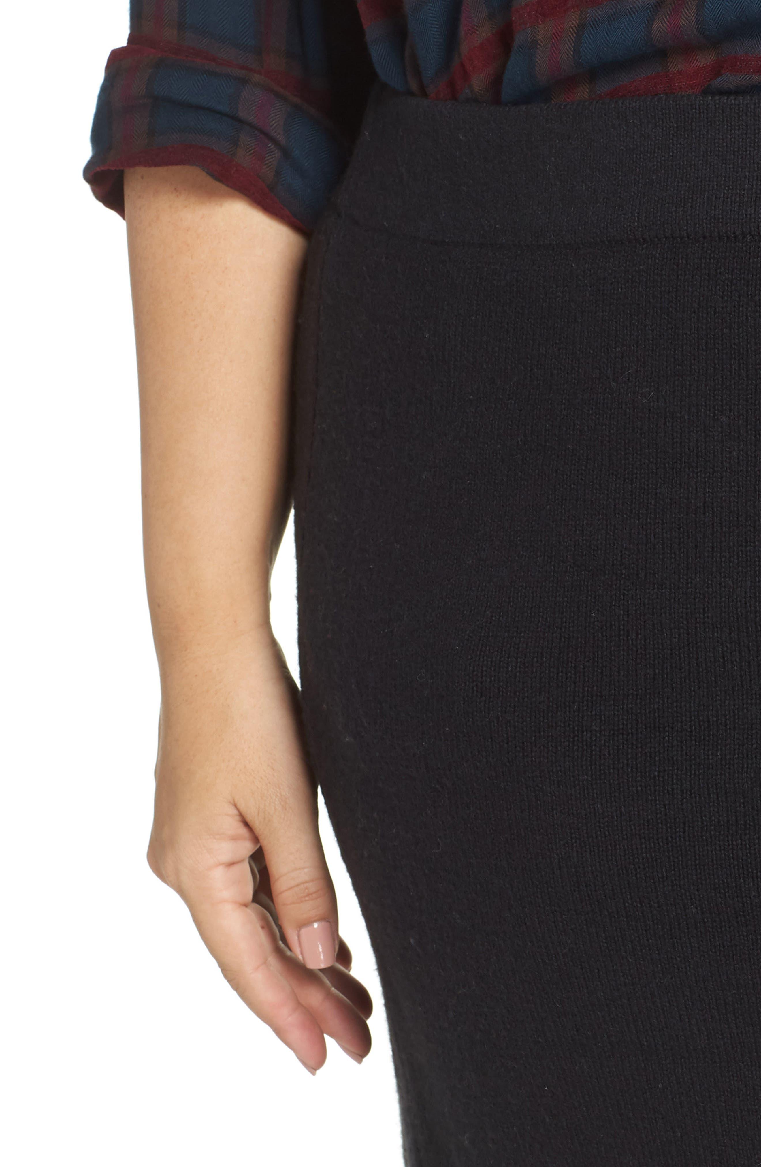 Sweater Miniskirt,                             Alternate thumbnail 4, color,                             BLACK