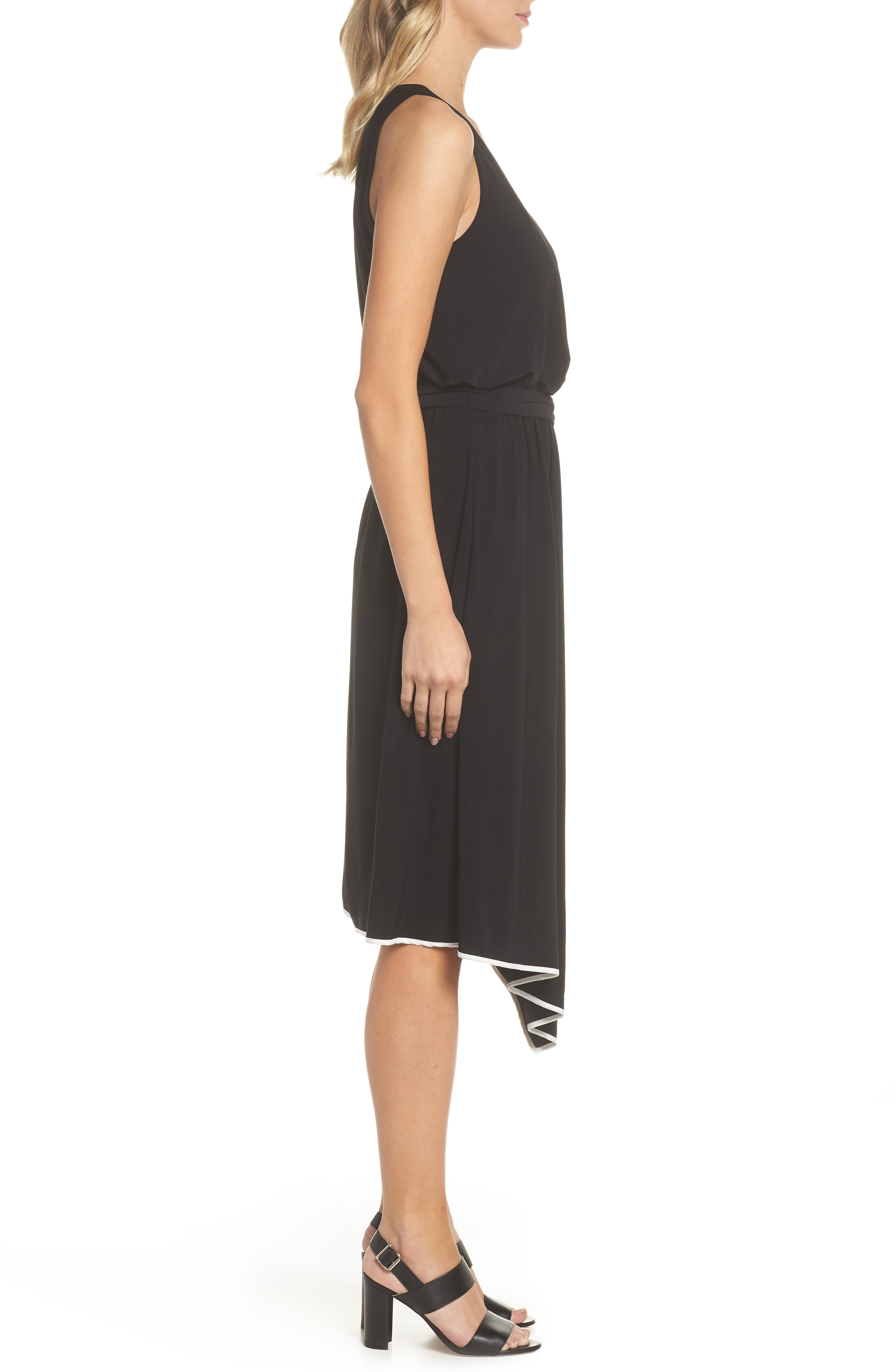 Handkerchief Hem Jersey Midi Dress,                             Alternate thumbnail 3, color,                             002