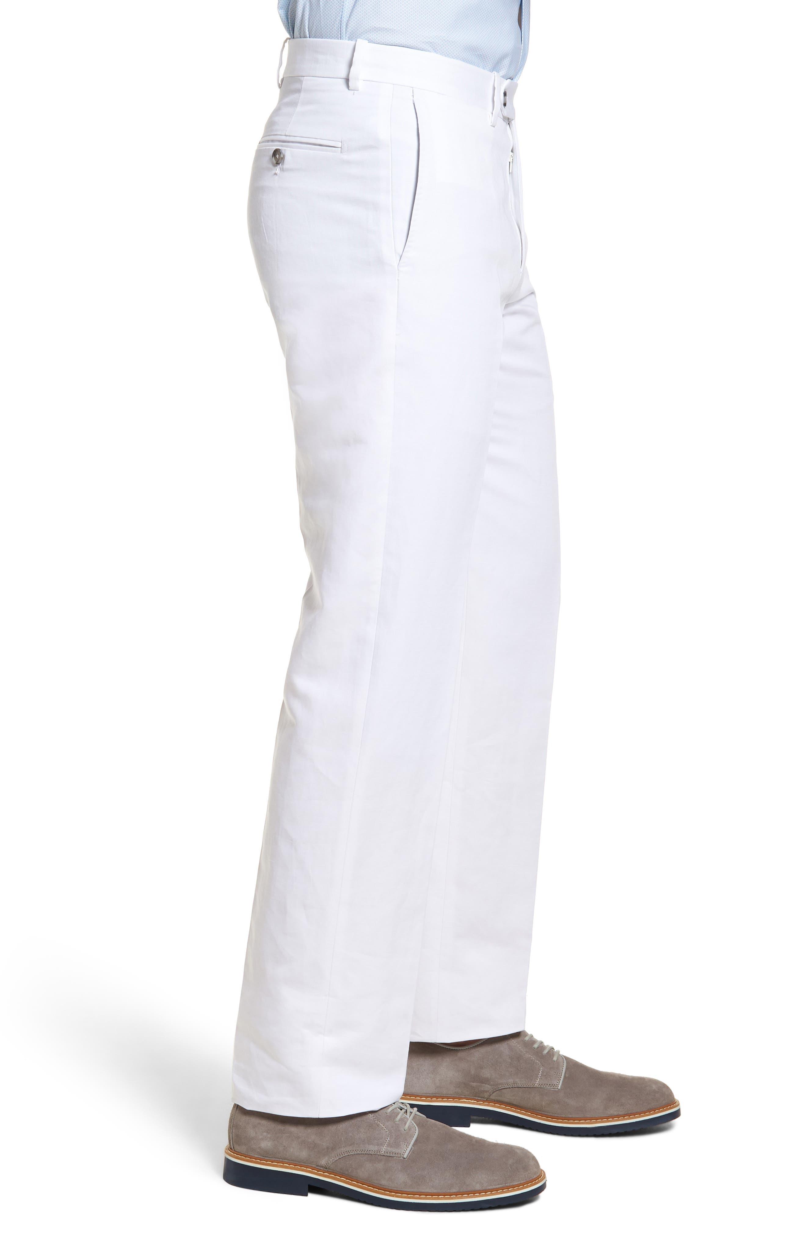 Flat Front Solid Cotton & Linen Trousers,                             Alternate thumbnail 14, color,