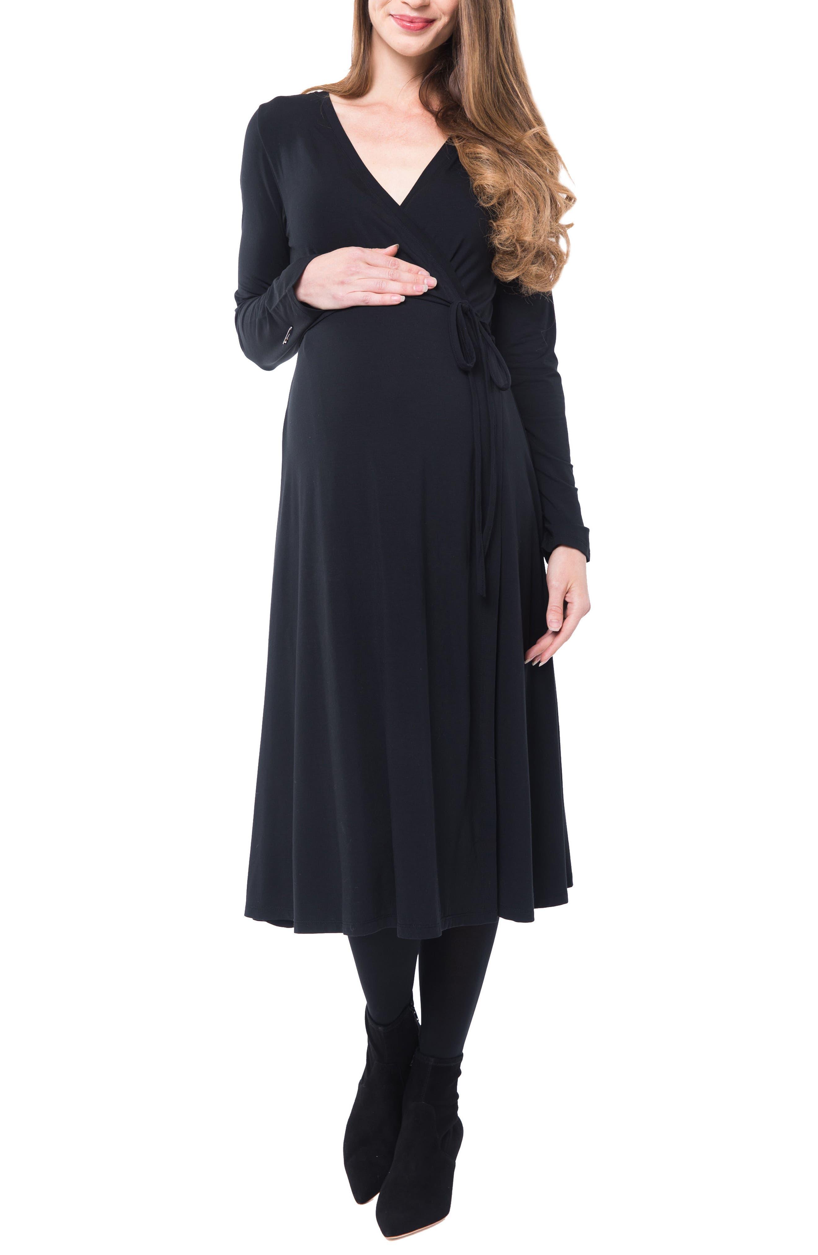 Tessa Jersey Maternity/Nursing Wrap Dress,                             Alternate thumbnail 4, color,                             BLACK
