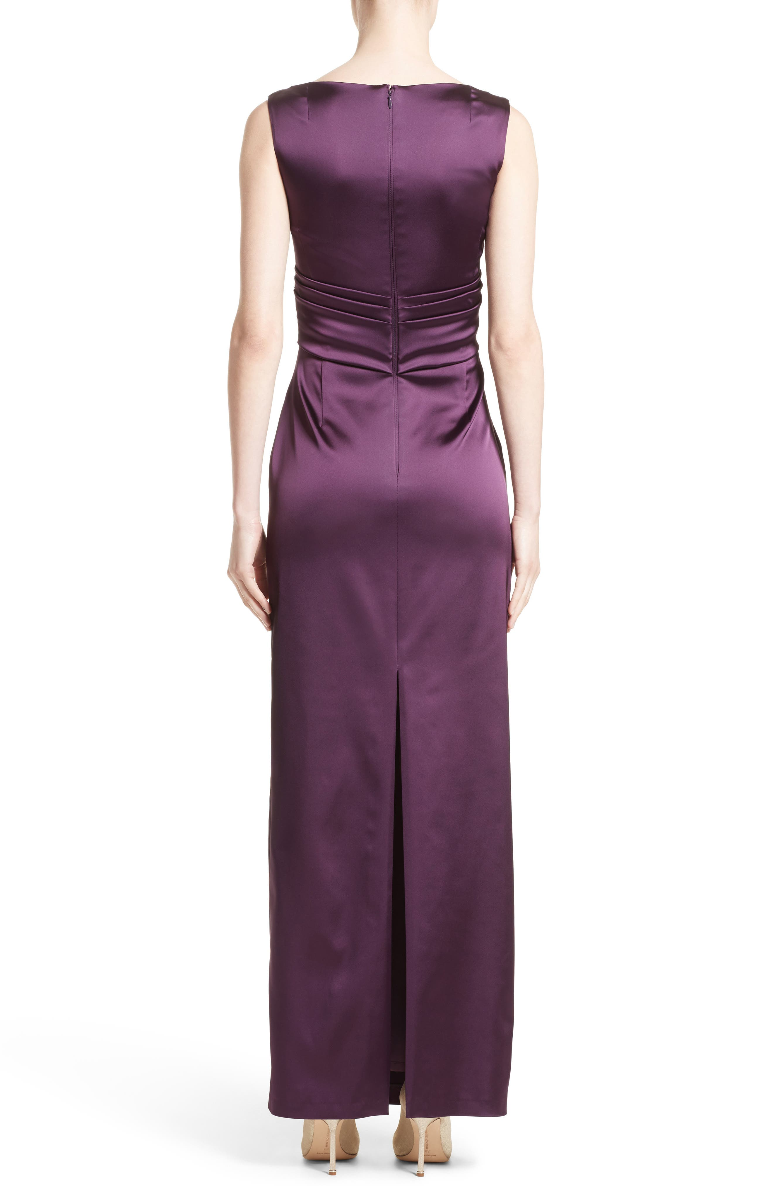 V-Neck Ruched Stretch Satin Column Gown,                             Alternate thumbnail 3, color,