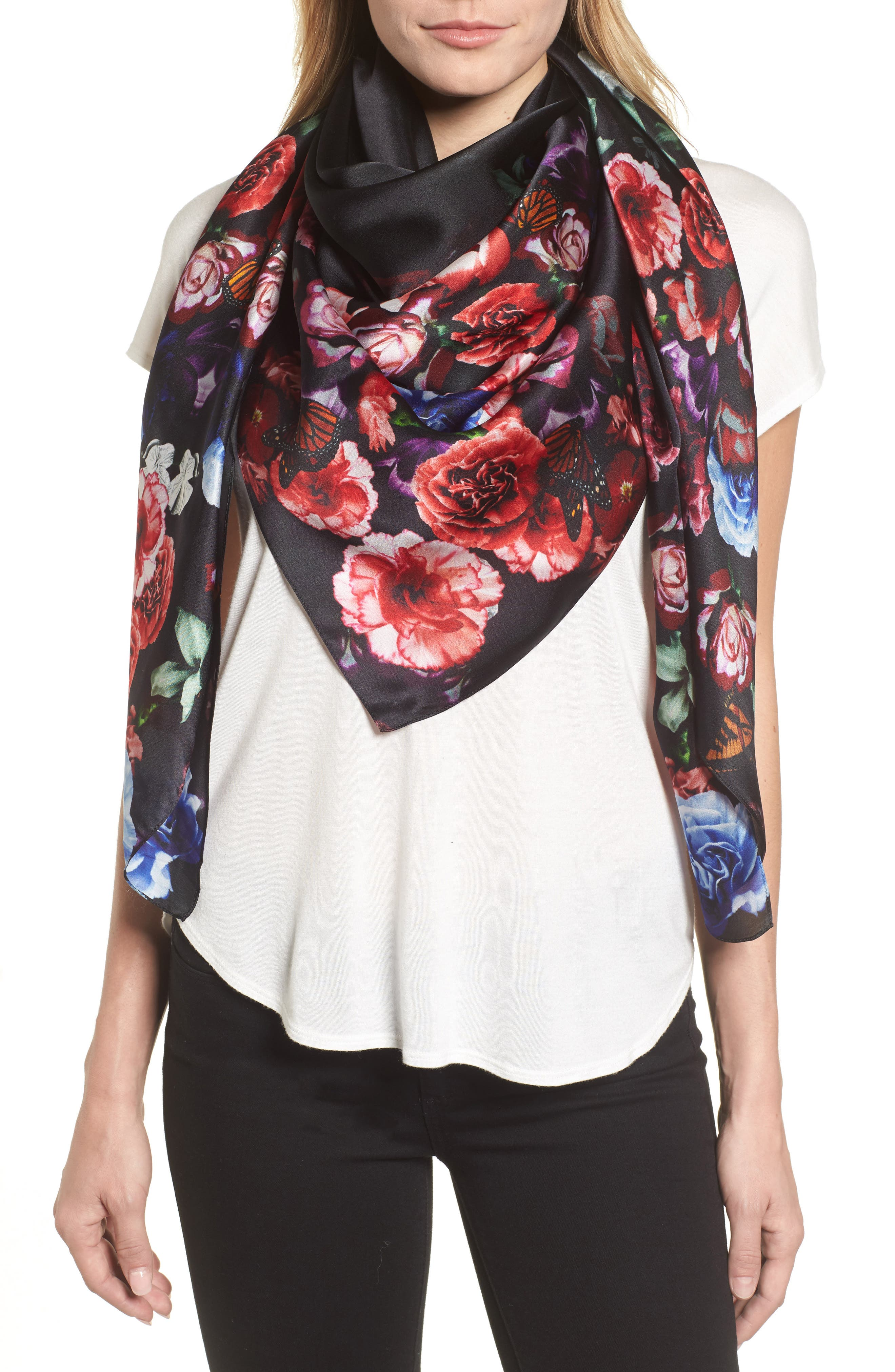 Floral Gem Square Silk Scarf,                         Main,                         color, 001