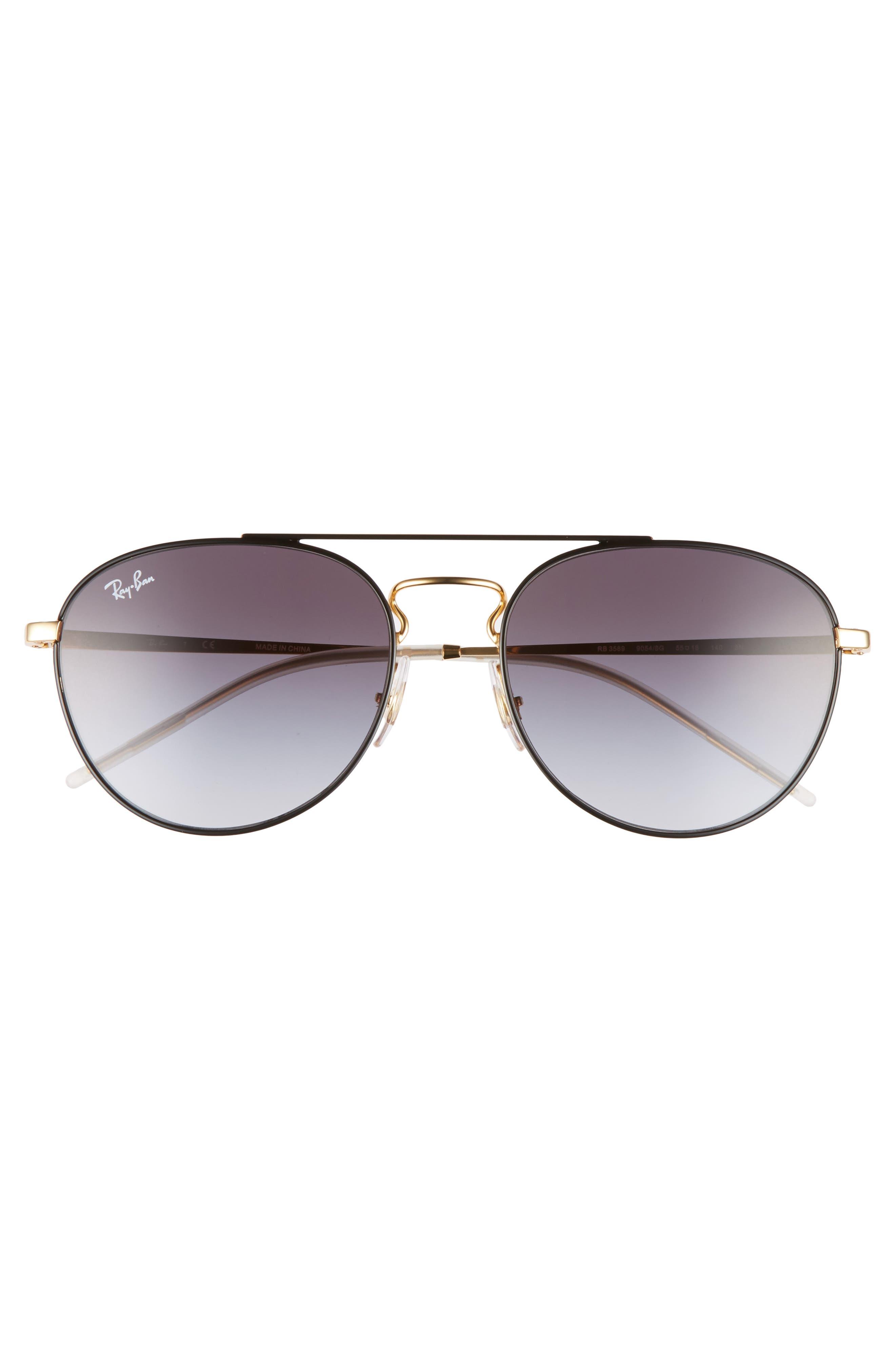 55mm Gradient Lens Round Aviator Sunglasses,                             Alternate thumbnail 4, color,                             001