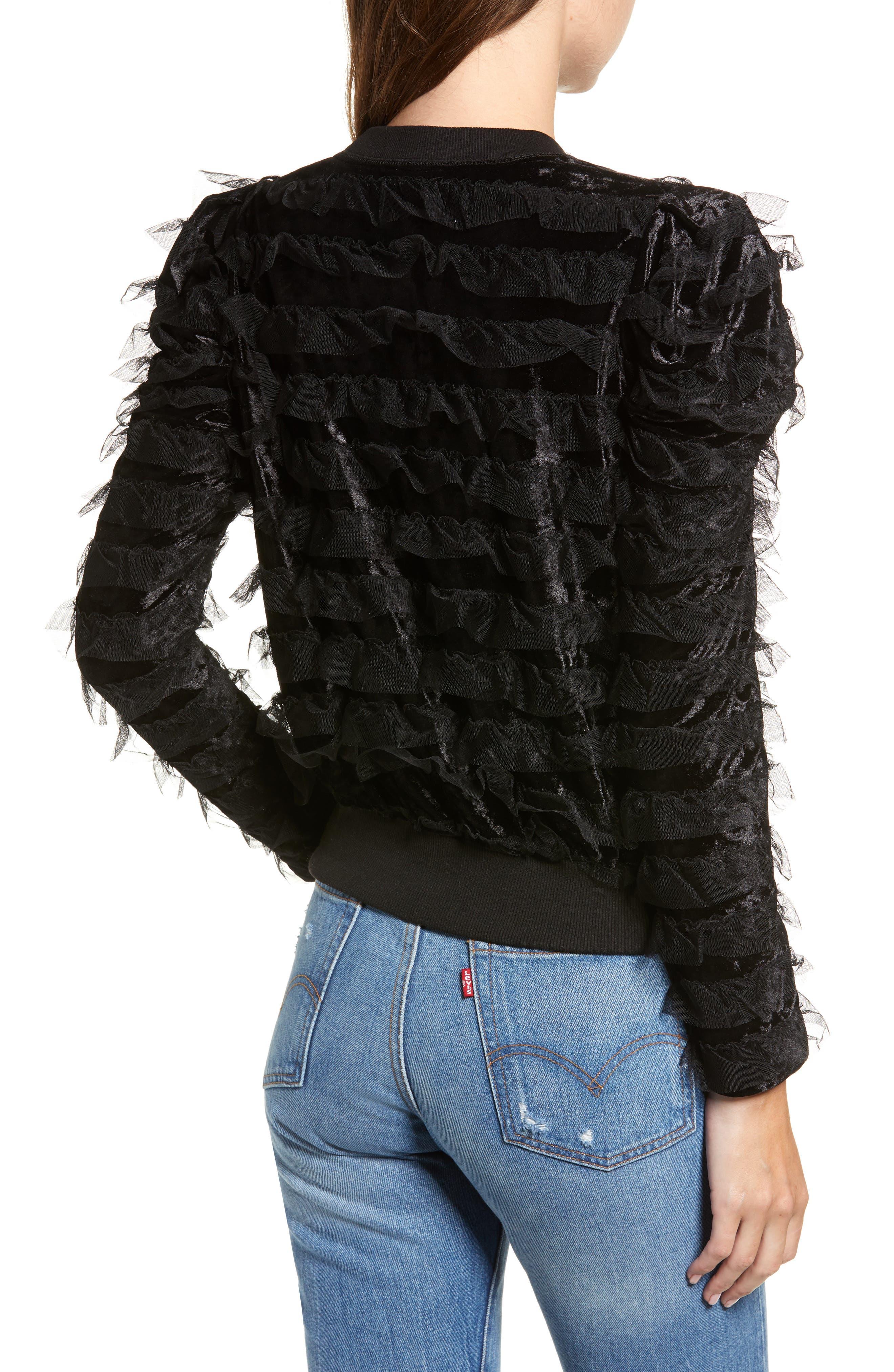 Tulle Ruffle Velour Pullover,                             Alternate thumbnail 2, color,                             BLACK MESH