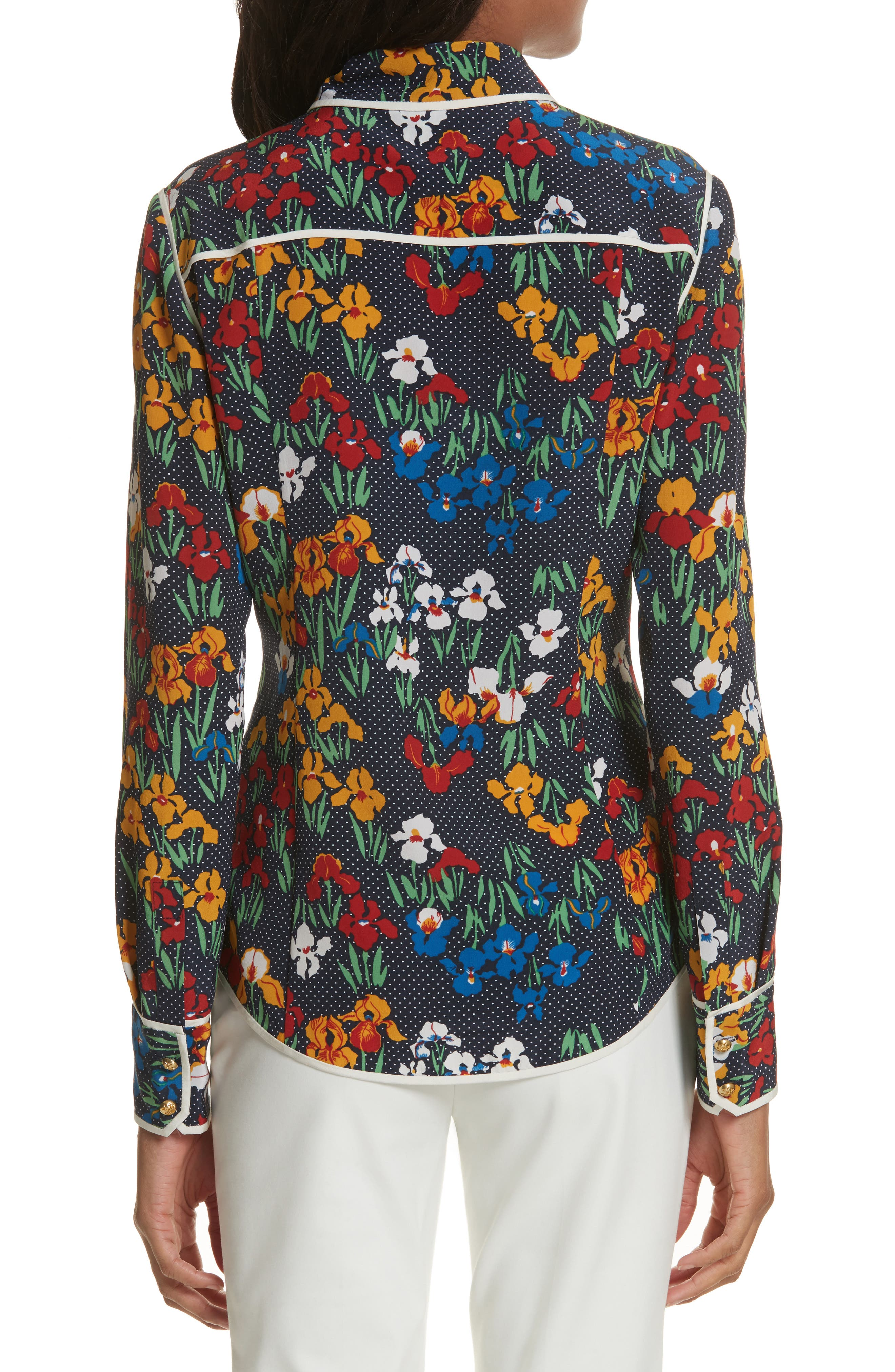 Jackie Silk Shirt,                             Alternate thumbnail 4, color,