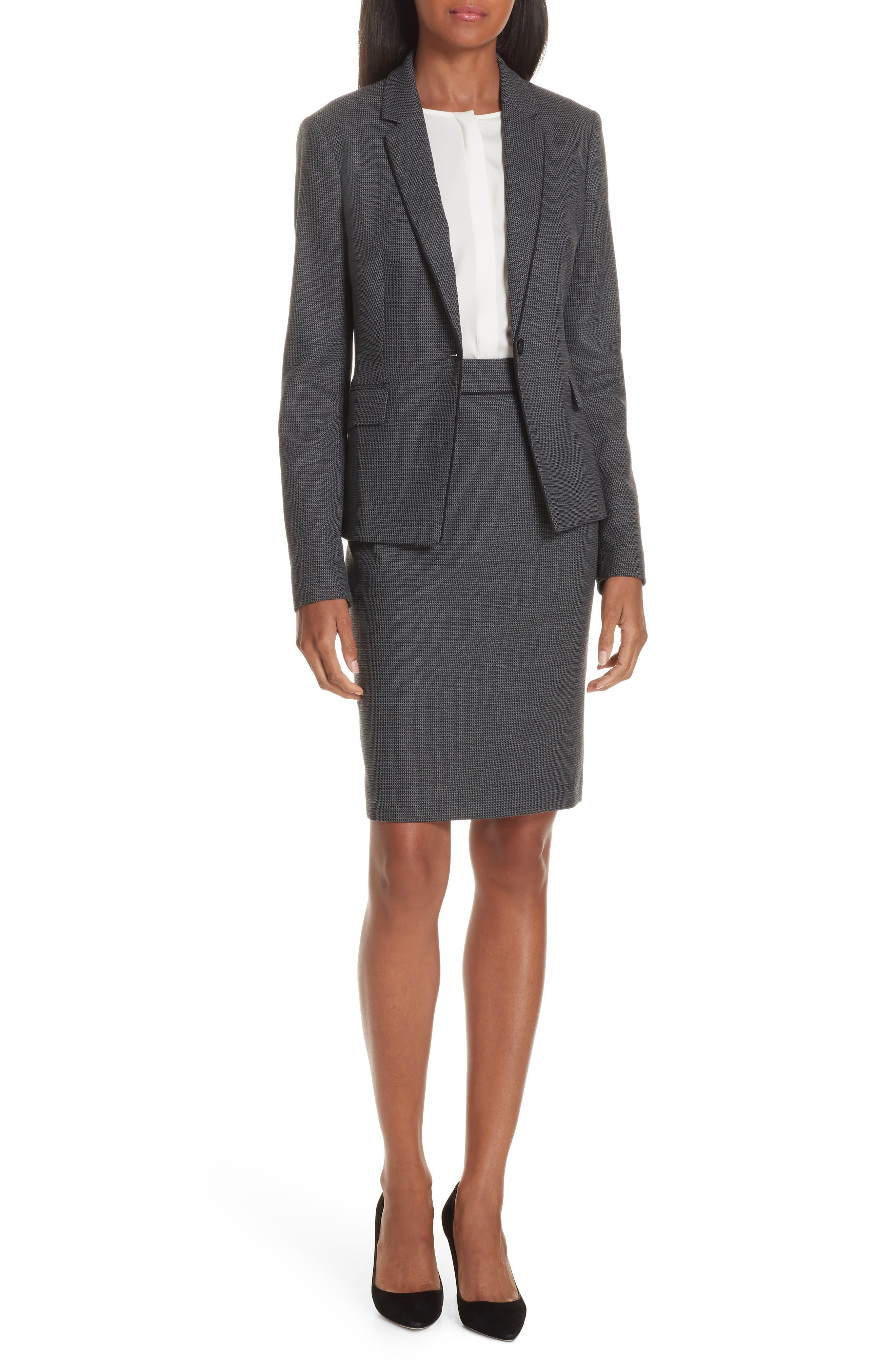 Vorita Geometric Wool Blend Suit Skirt,                             Alternate thumbnail 7, color,                             GREY FANTASY