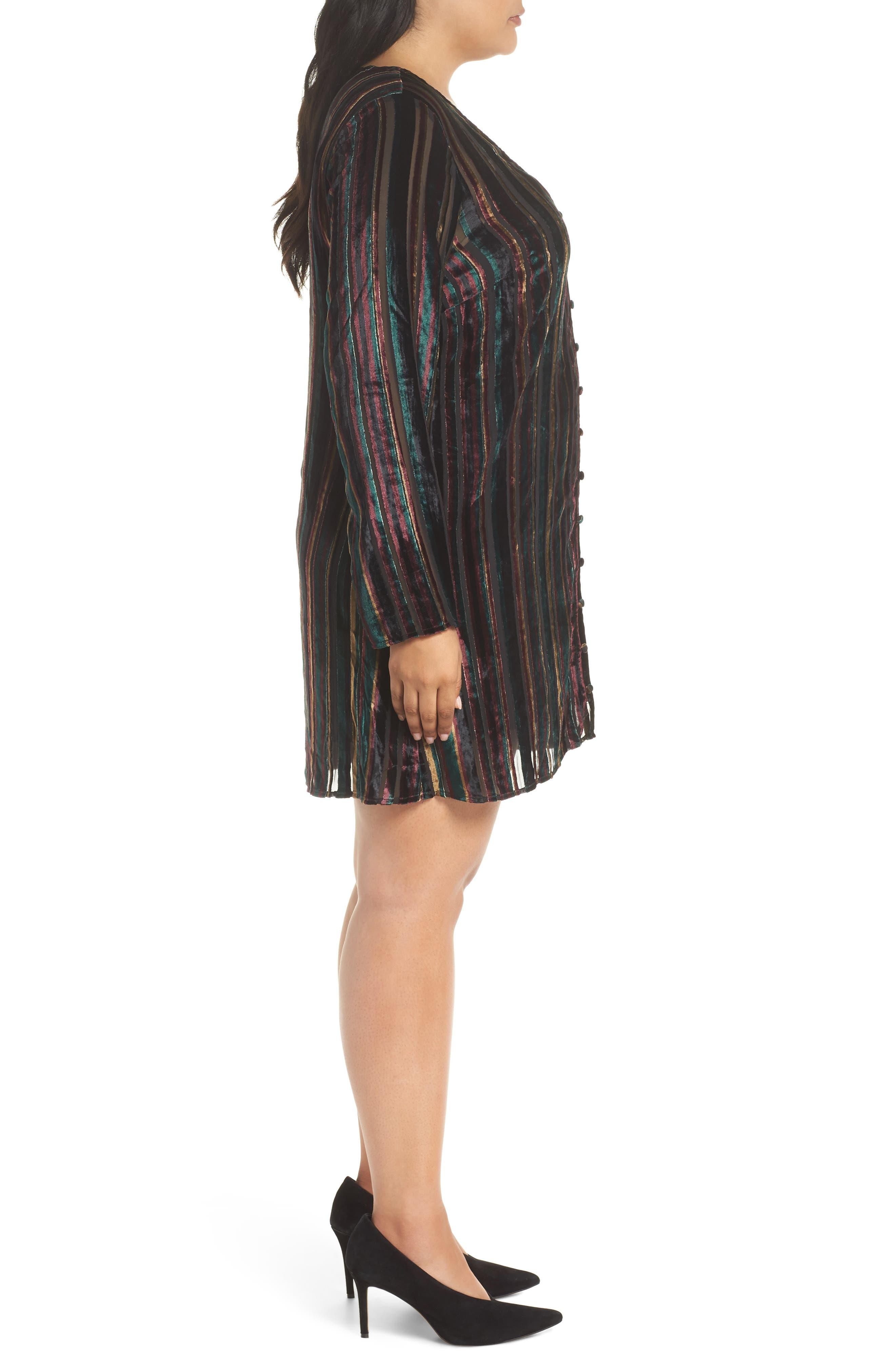 Velvet Burnout Stripe Dress,                             Alternate thumbnail 3, color,                             BLACK VELVET STRIPE