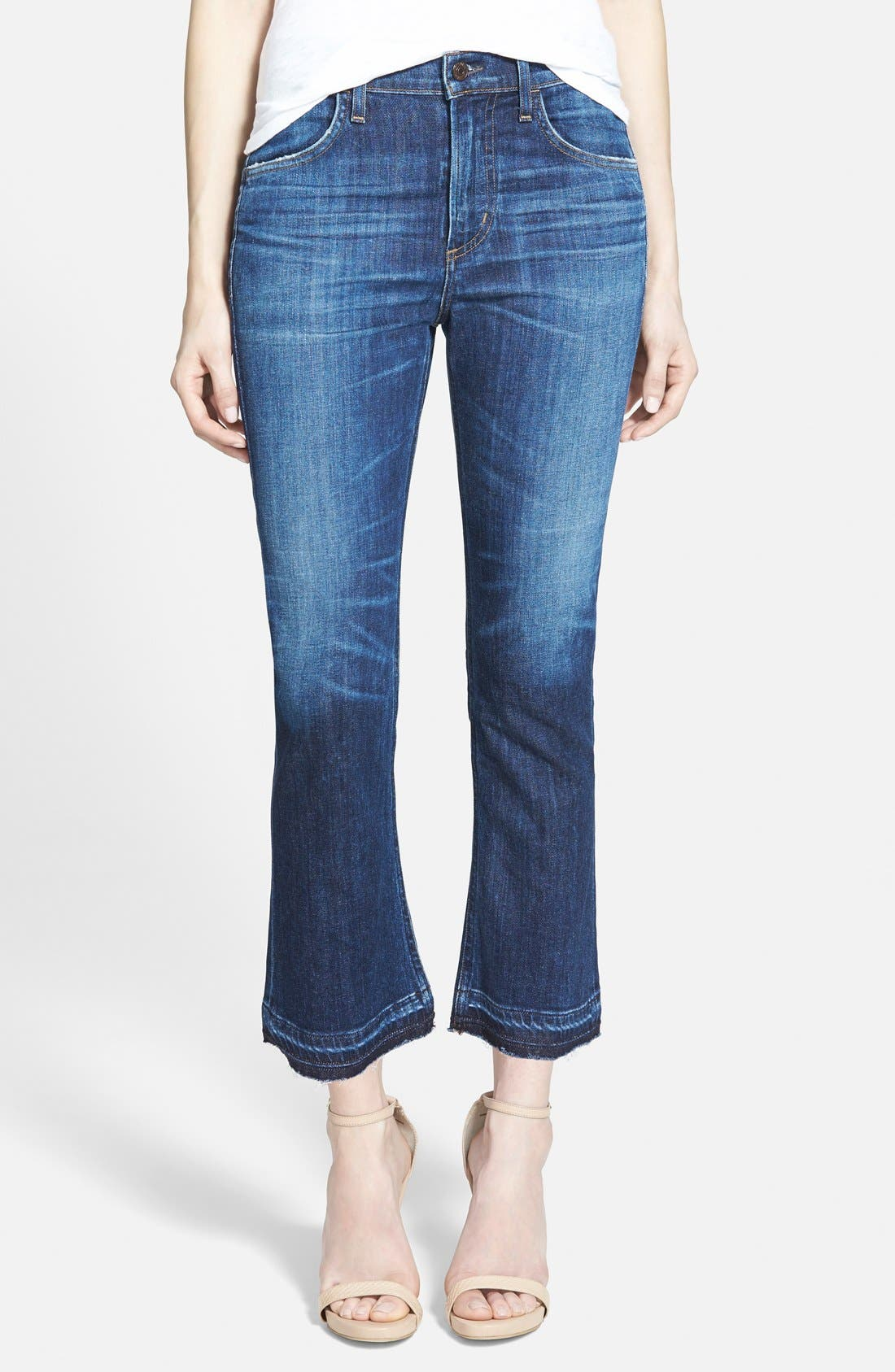 'Drew' Crop Flare Jeans,                             Main thumbnail 1, color,                             WATERFRONT