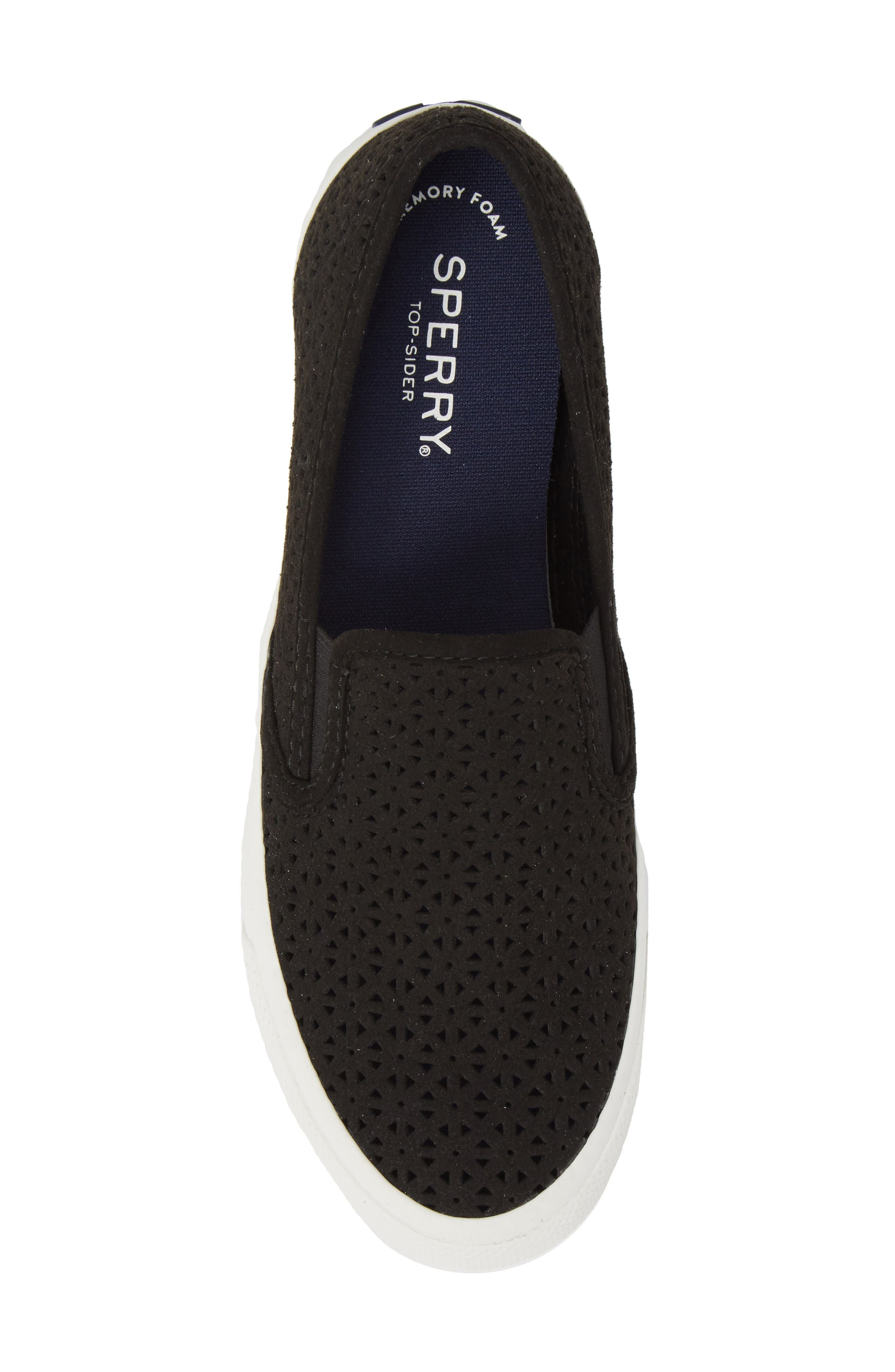 Seaside Nautical Perforated Slip-On Sneaker,                             Alternate thumbnail 5, color,                             BLACK LEATHER