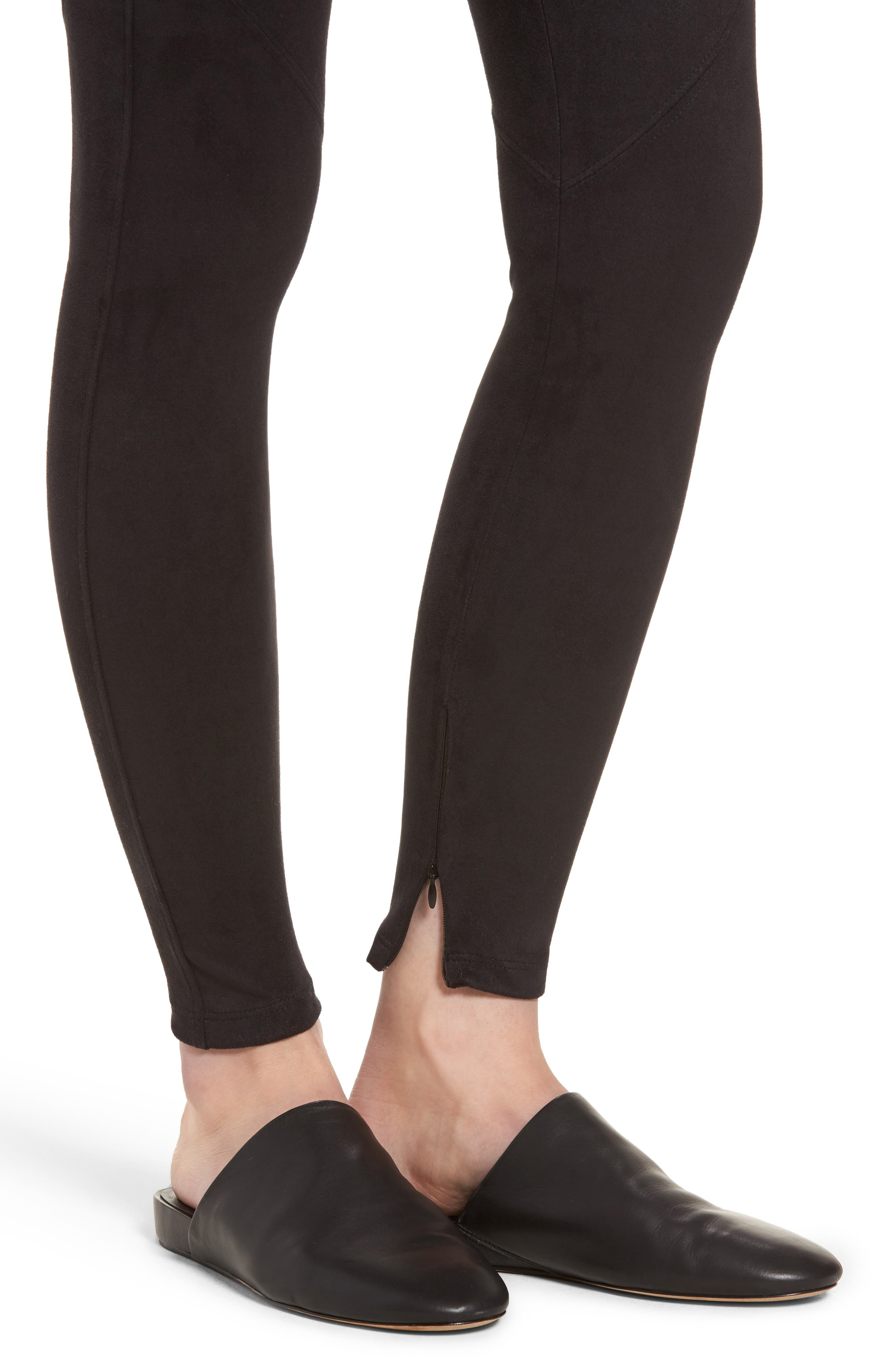 Faux Suede Leggings,                             Alternate thumbnail 4, color,                             BLACK