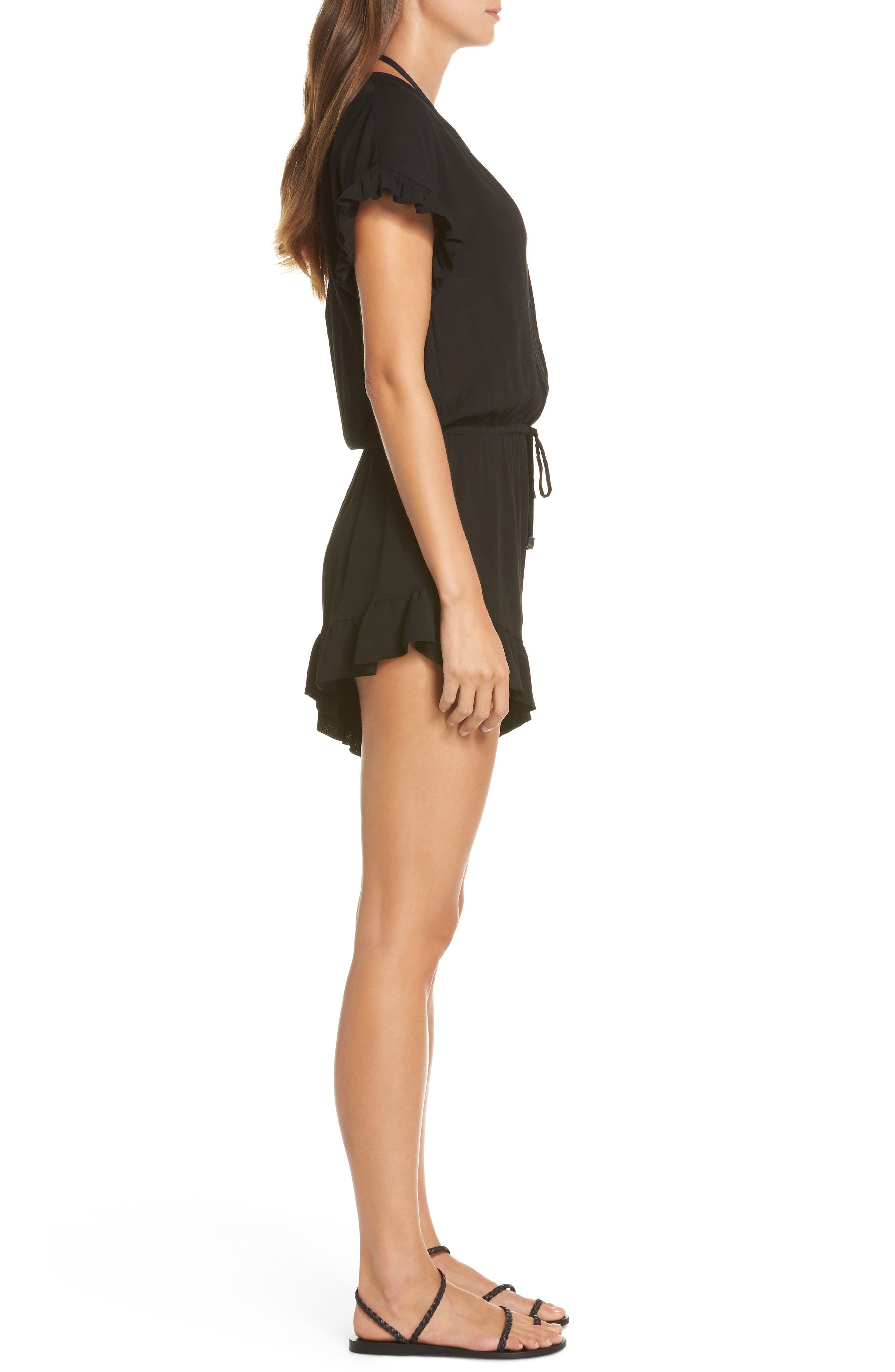 Ruffle Sleeve Cover-Up Romper,                             Alternate thumbnail 3, color,                             BLACK