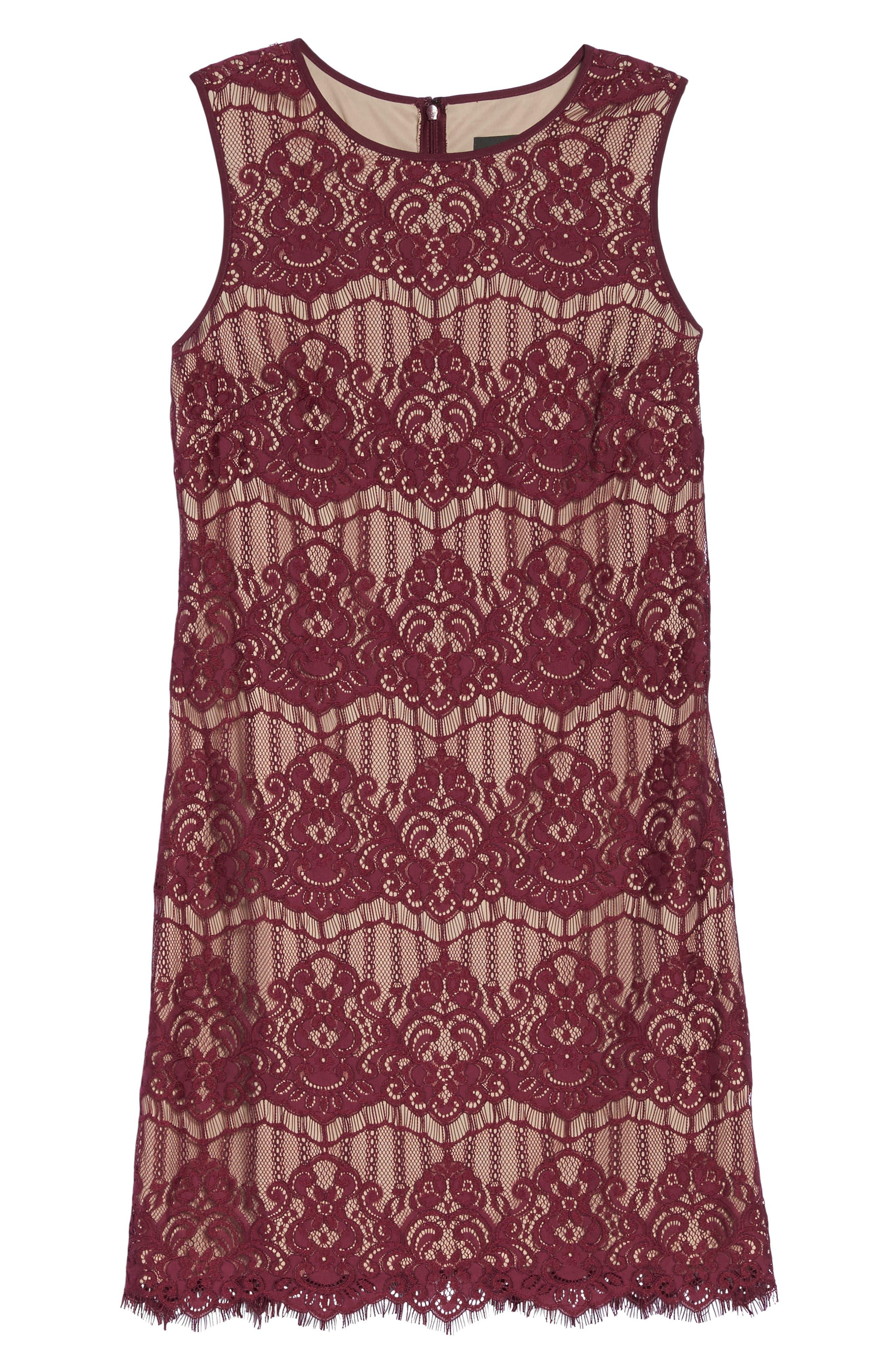 Scalloped Lace Sheath Dress,                             Alternate thumbnail 6, color,                             640