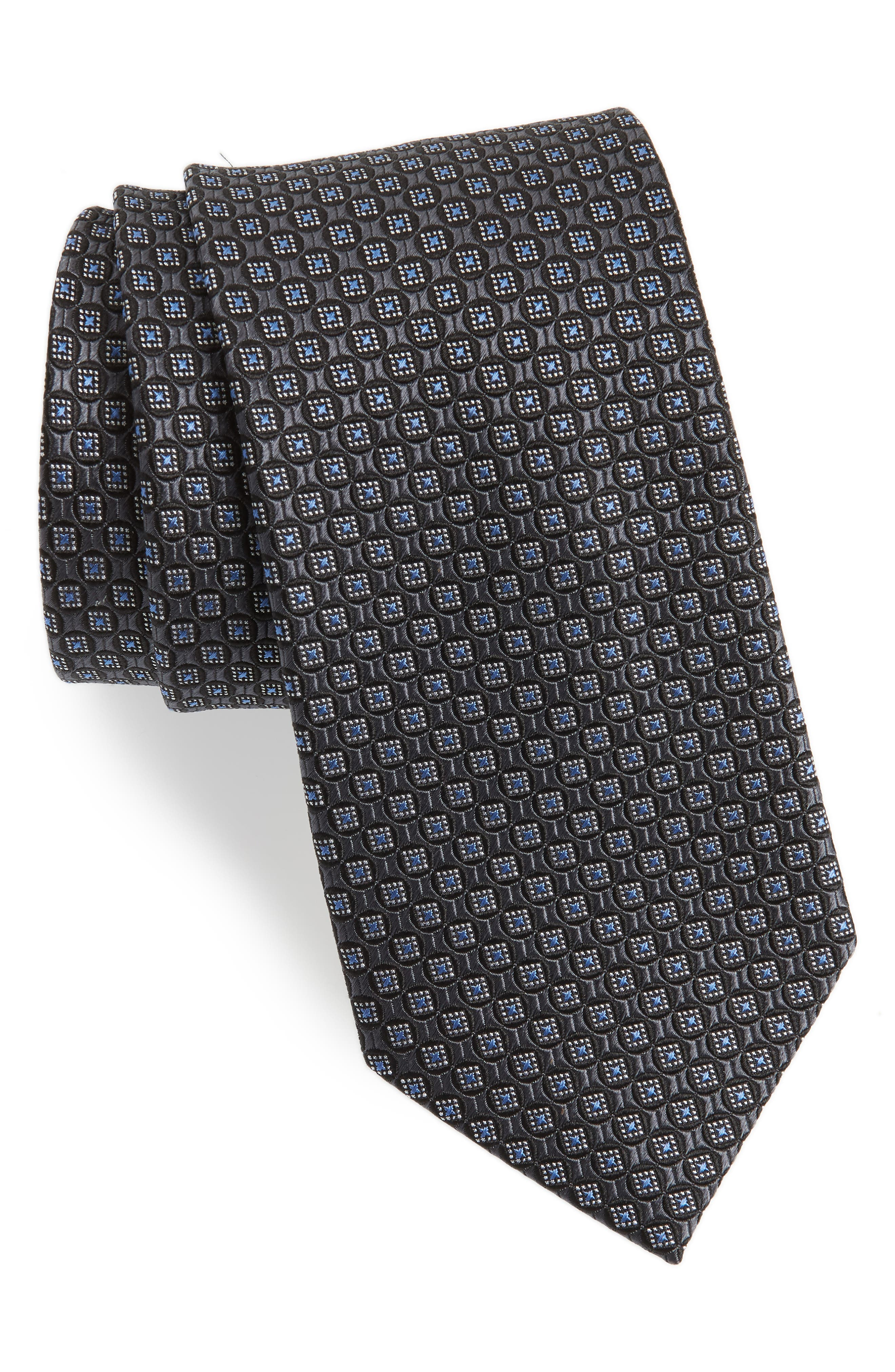 Neat Silk Tie,                         Main,                         color, BLACK