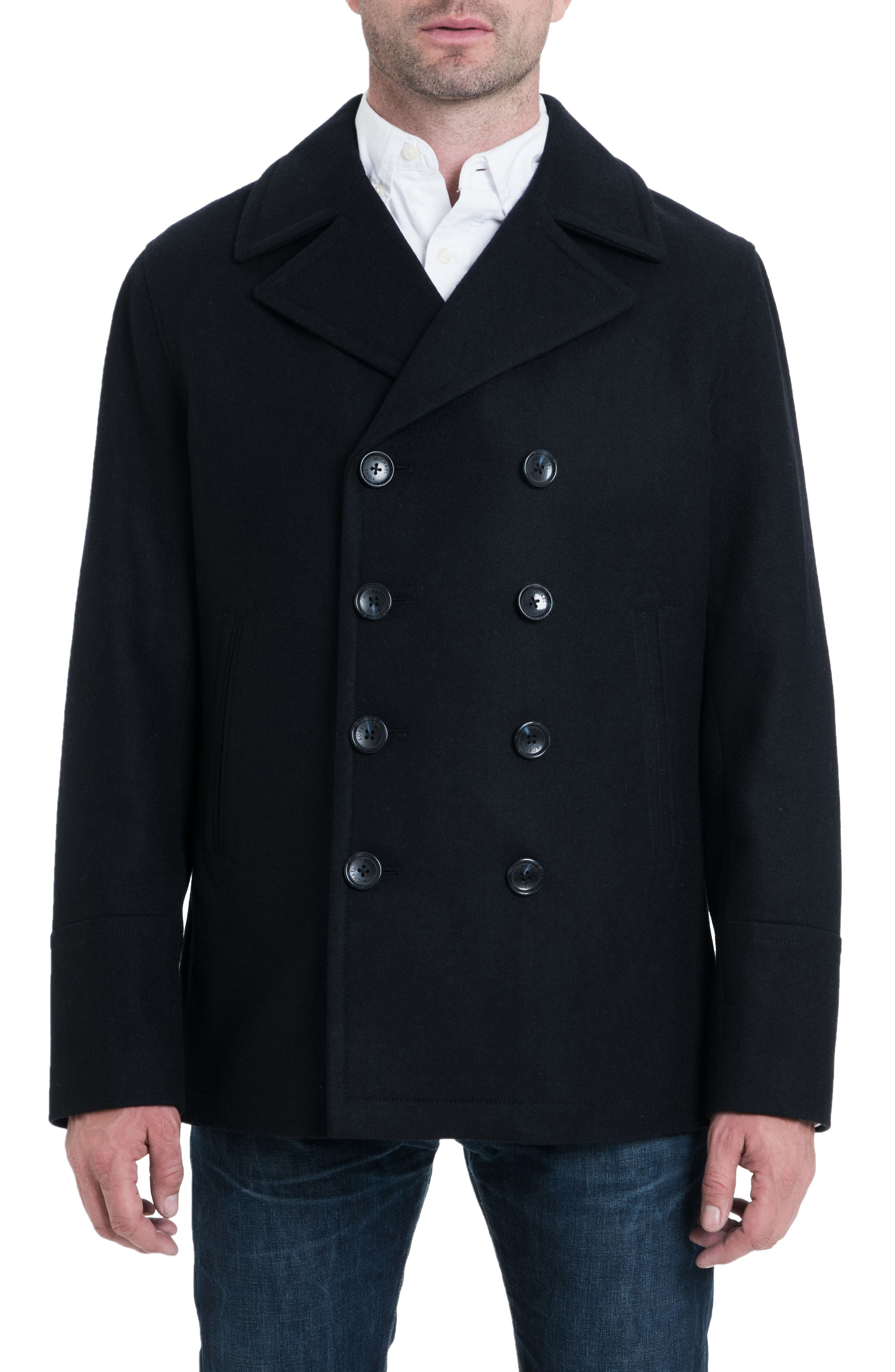 Wool Blend Double Breasted Peacoat,                             Alternate thumbnail 30, color,