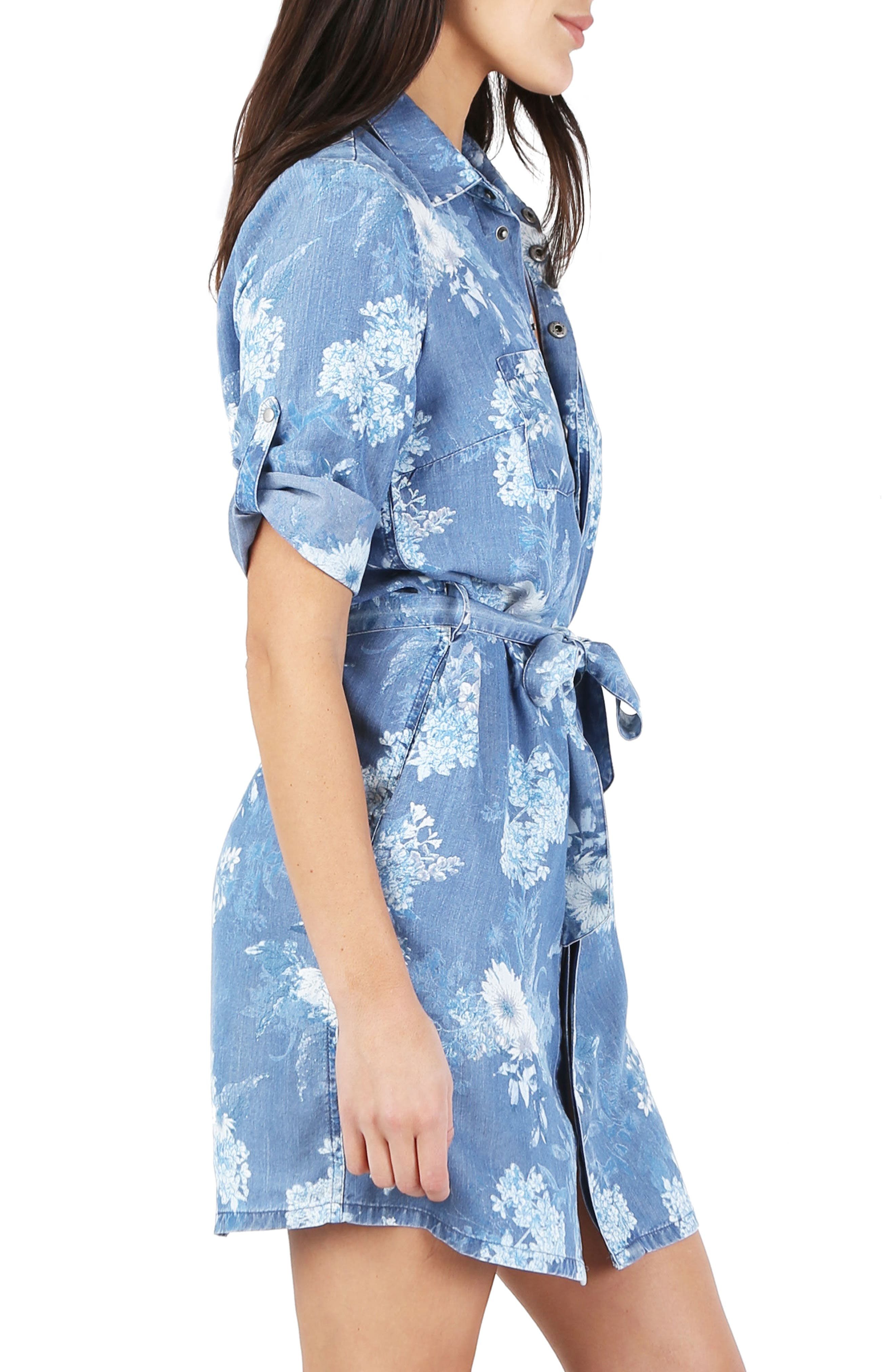 Amerie Belted Chambray Dress,                             Alternate thumbnail 3, color,                             400