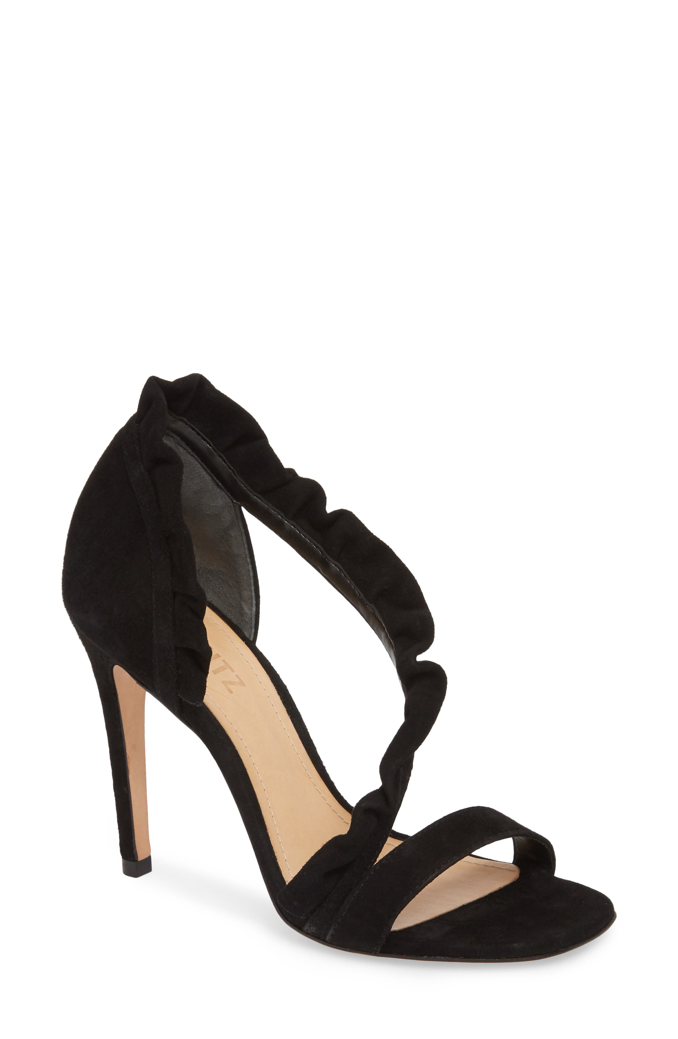 Aim Ruffle Sandal,                         Main,                         color, BLACK SUEDE