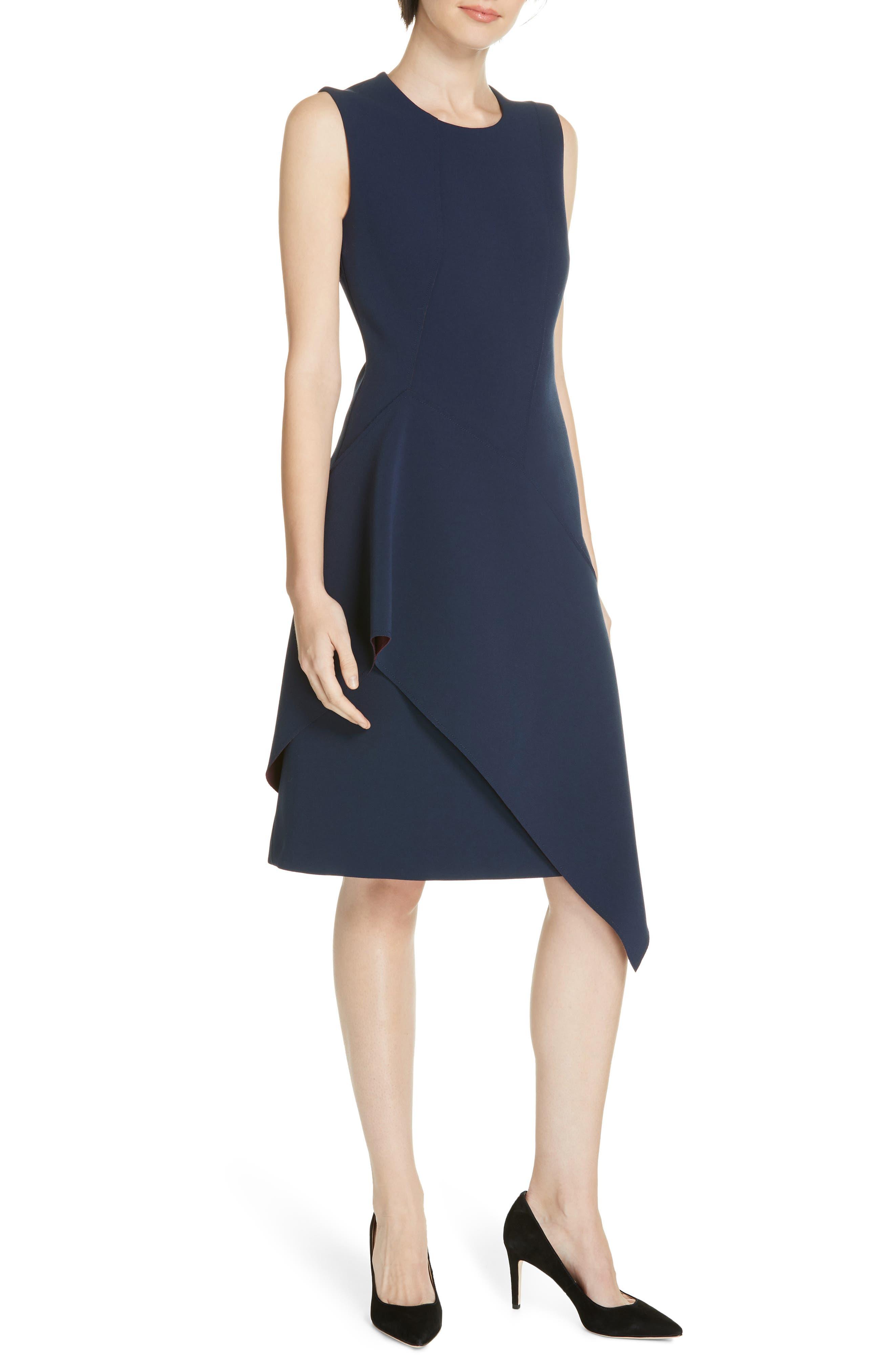 Delakety Asymmetrical A-Line Dress, Main, color, DEEP BLUE FANTASY