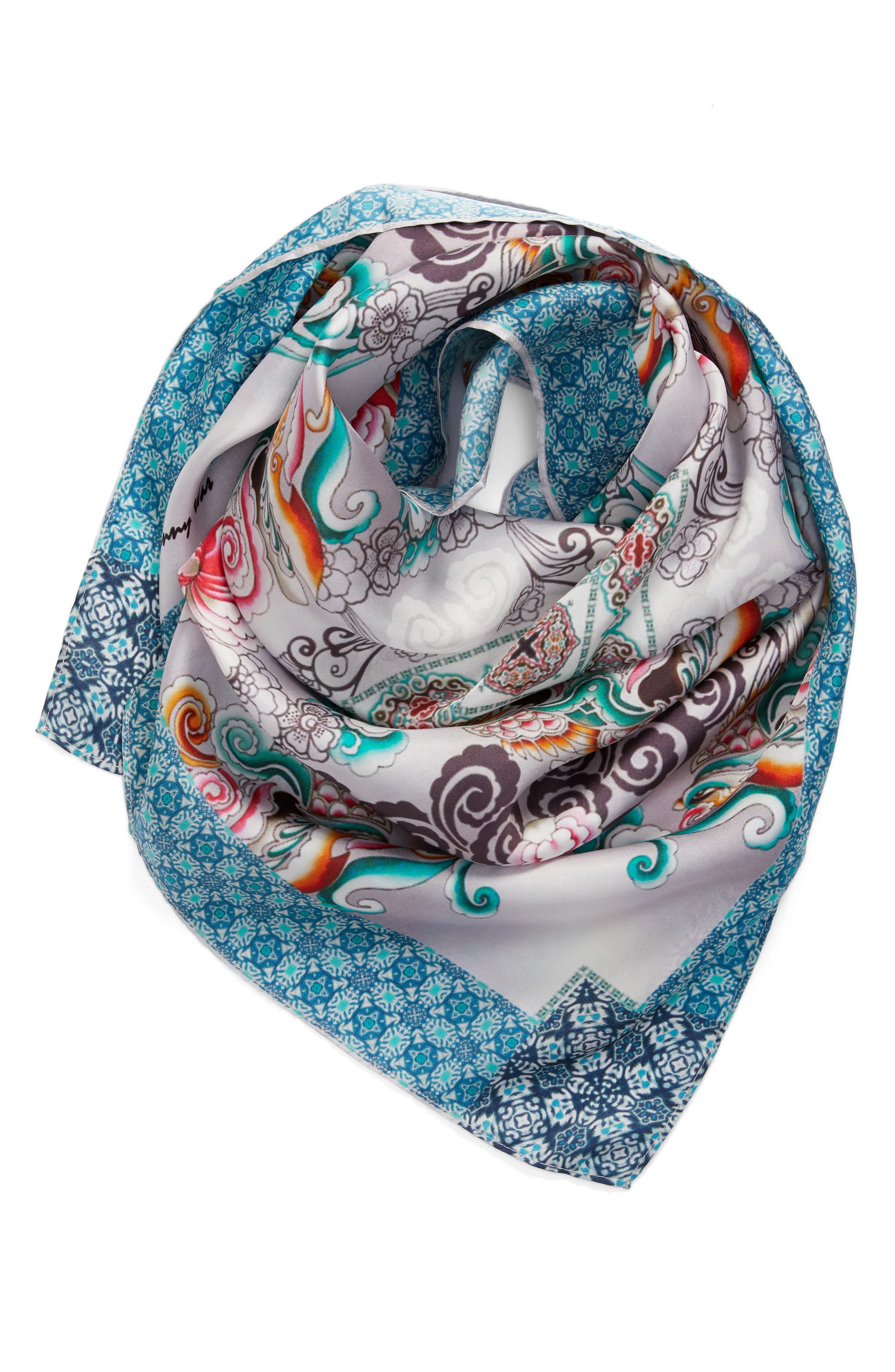 Saint Square Silk Scarf,                             Alternate thumbnail 2, color,                             400