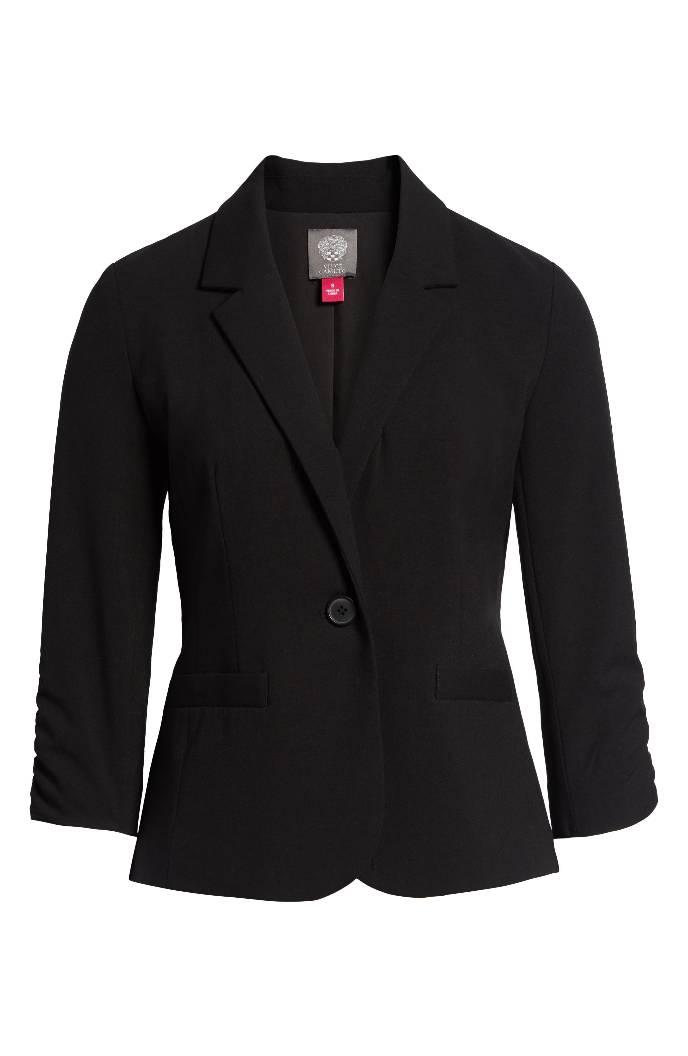 Ruched Sleeve Blazer,                             Alternate thumbnail 6, color,                             RICH BLACK