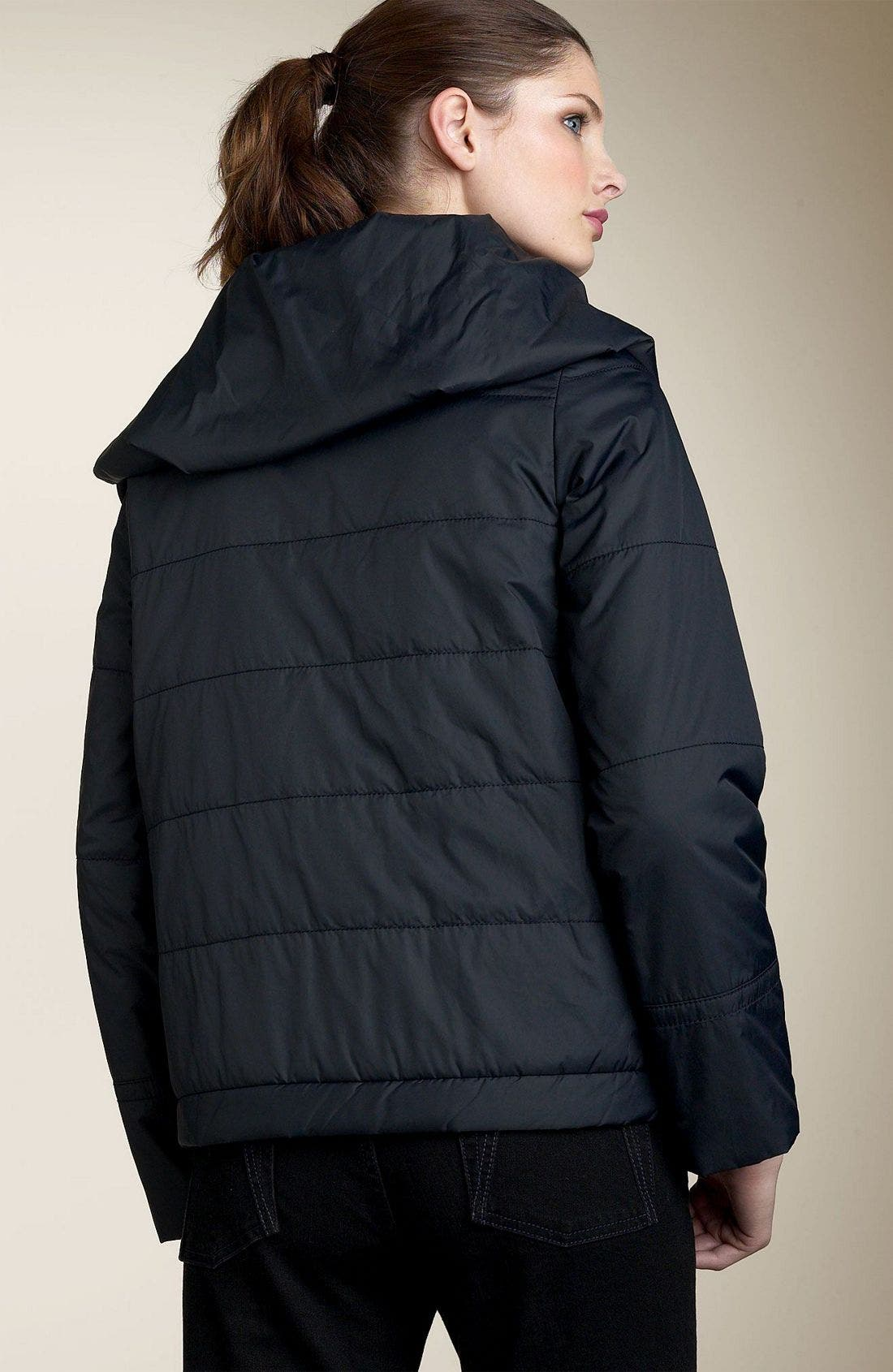 Quilted Nylon Jacket,                             Alternate thumbnail 3, color,                             BLK