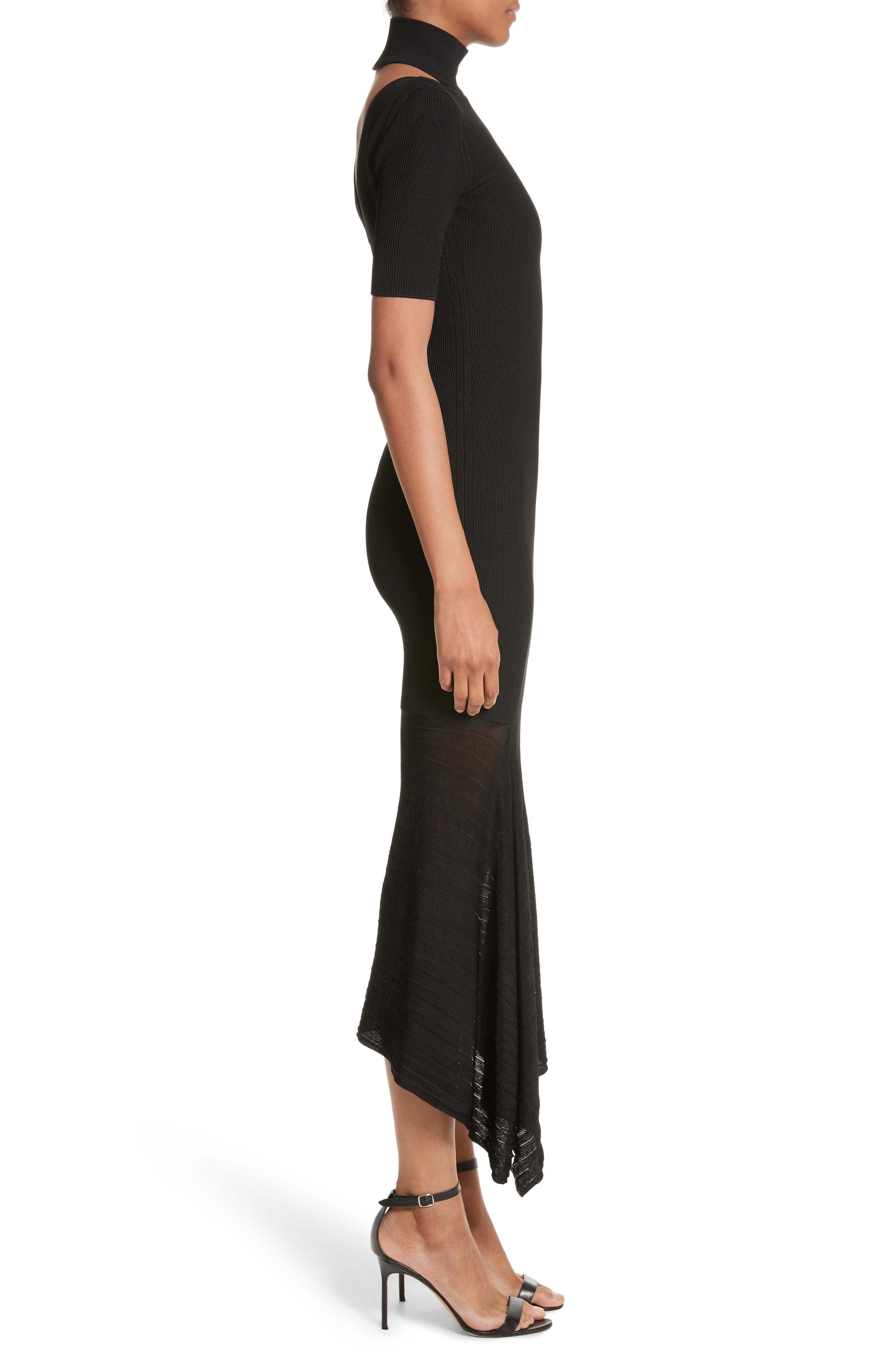 Asymmetrical Knit Dress,                             Alternate thumbnail 3, color,                             001