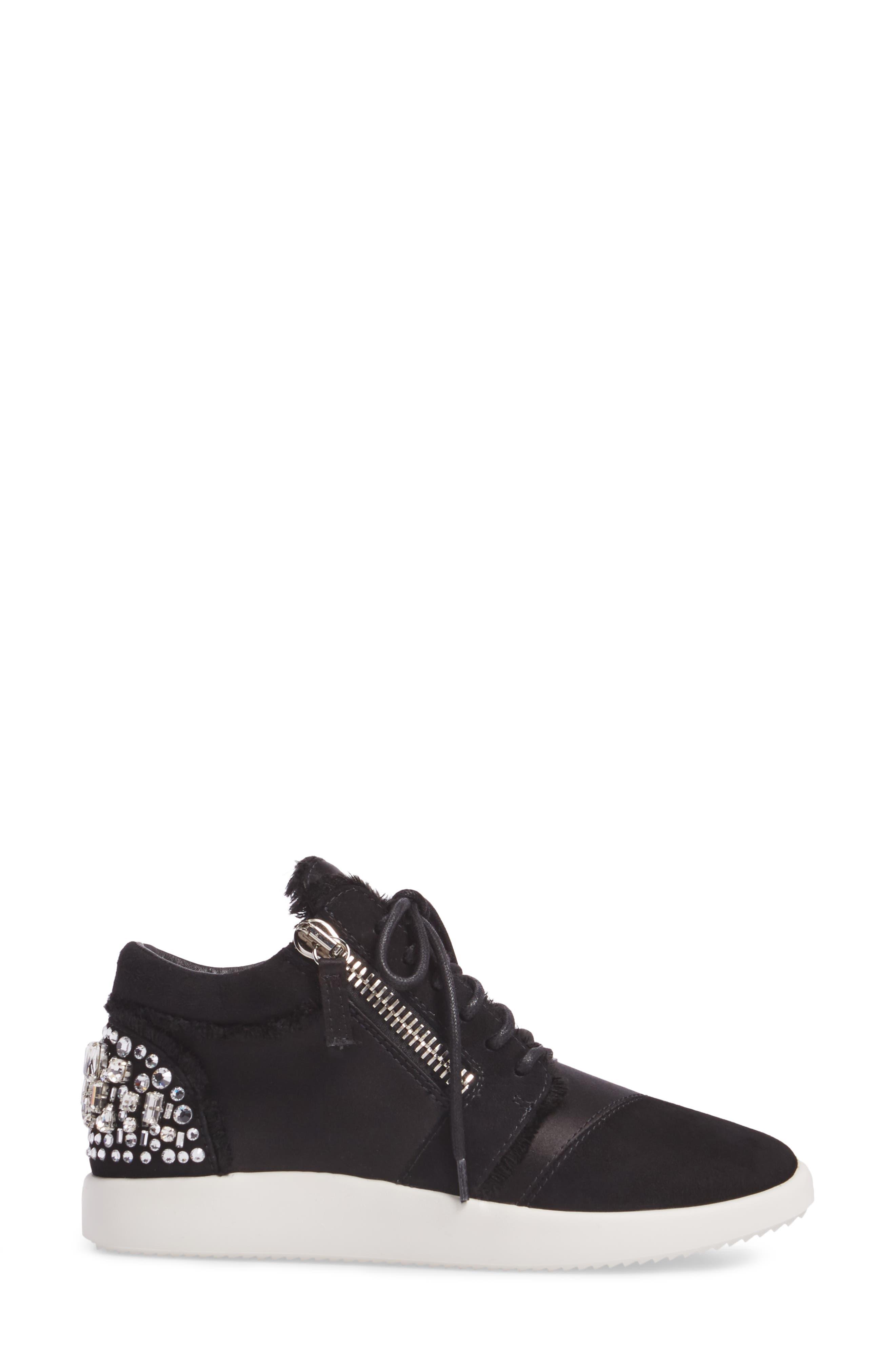 GIUSEPPE ZANOTTI,                             Swarovski Crystal Embellished Sneaker,                             Alternate thumbnail 3, color,                             001